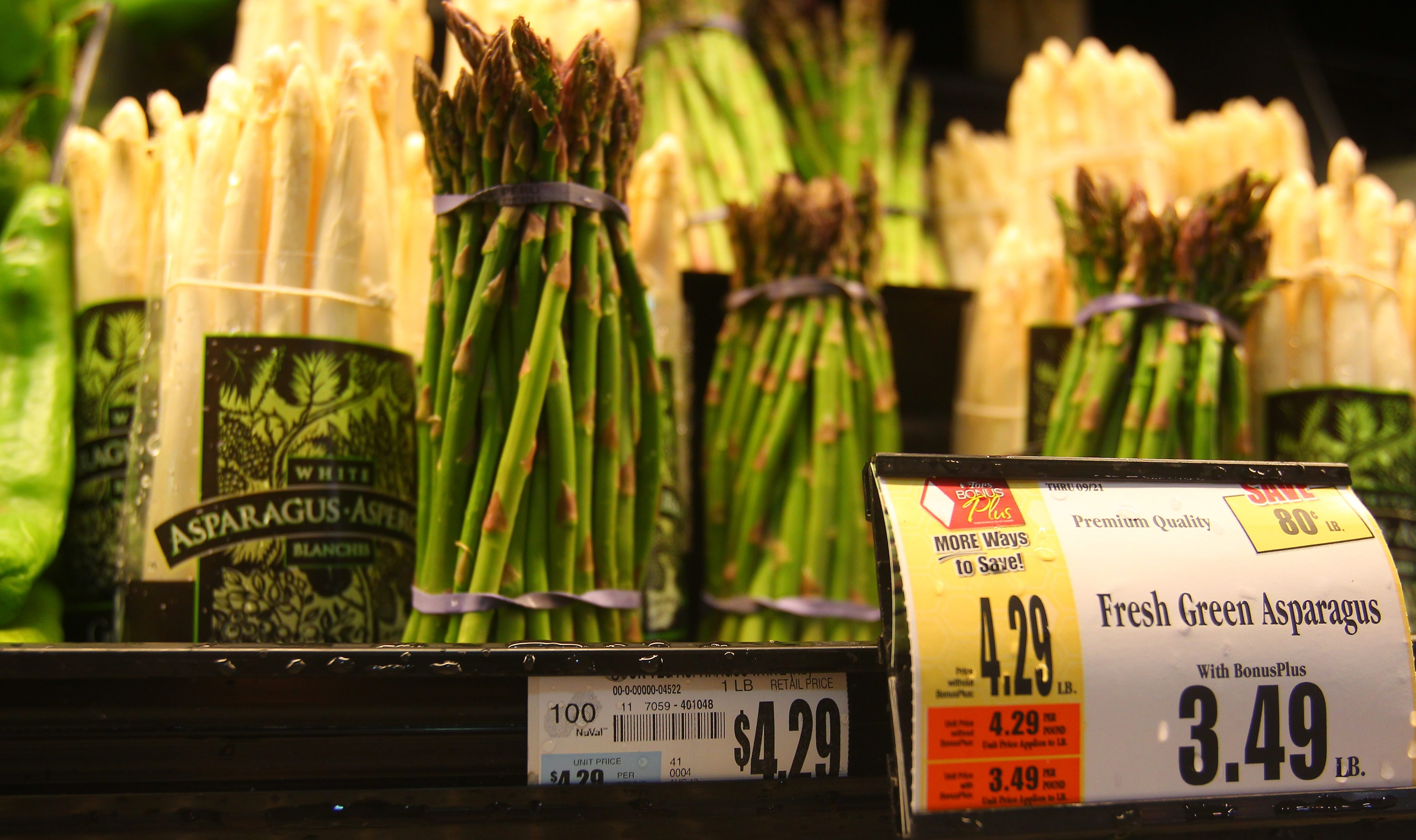 Items in the produce section tend to score well on the NuVal nutrition rating scale, which Tops Markets recently introduced. The rating is at the top corner of the shelf price tag. (John Hickey/Buffalo News)