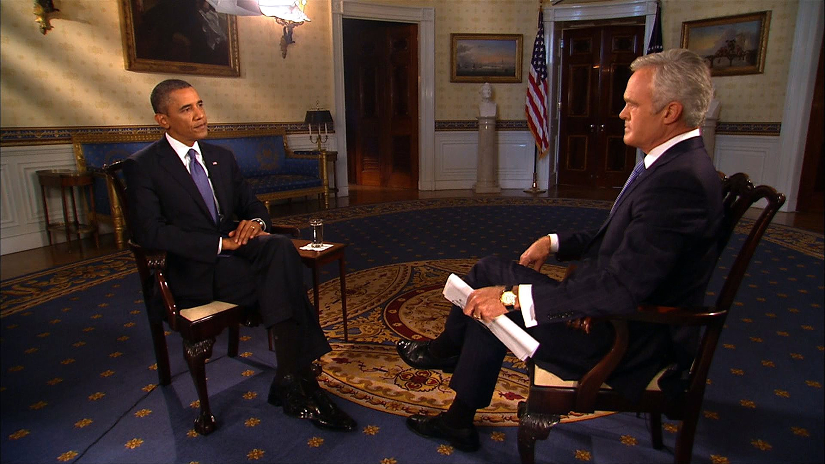 CBS Evening news anchor Scott Pelley interviews President Obama on Monday in the Blue Room of the White House, one of six network interviews he did on a possible U.S. military strike on Syria and a Russian proposal for Syria to surrender its chemical weapons to be destroyed.