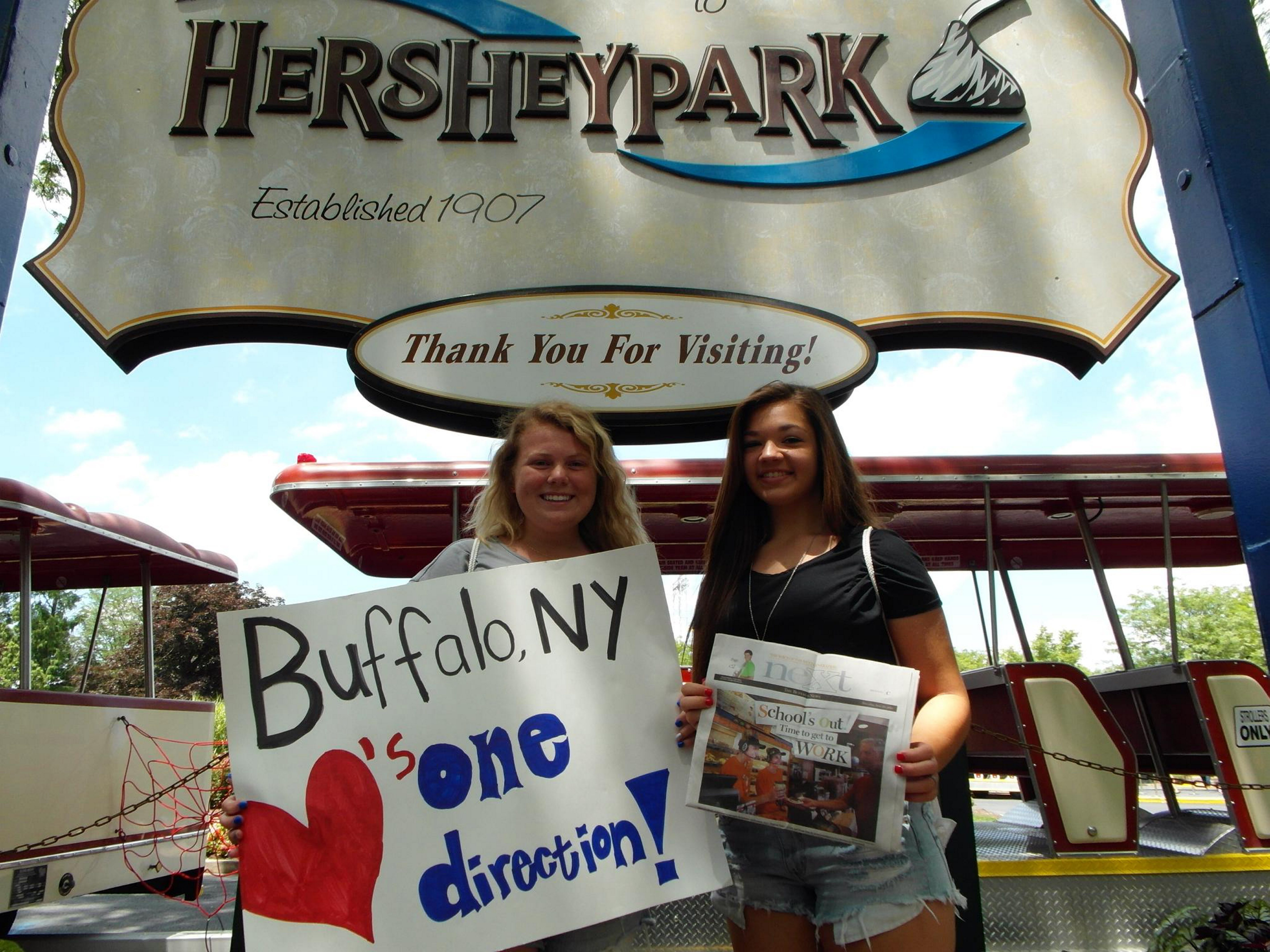 Sweet spot: Starpoint High School students Brianna Brenon, 16, left, and Jenna Dashnaw, 17, took NeXt with them to Hersheypark in Hershey, Pa., in July to see One Direction in concert. The girls also met the boys in the band.