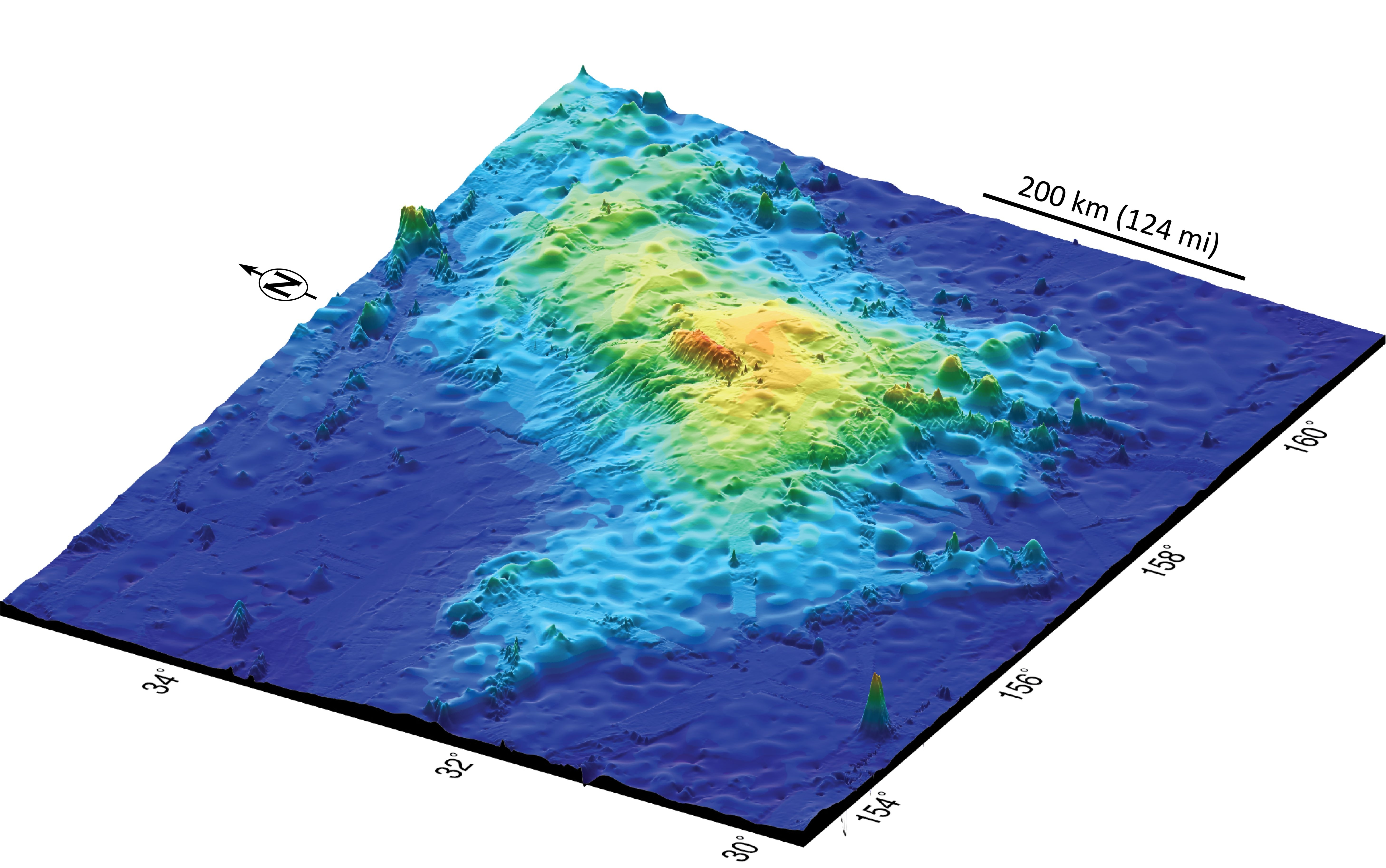 This is a 3-D plot of the topography of Tamu Massif, which likes about a thousand miles east of Japan and has been extinct for millions of years.