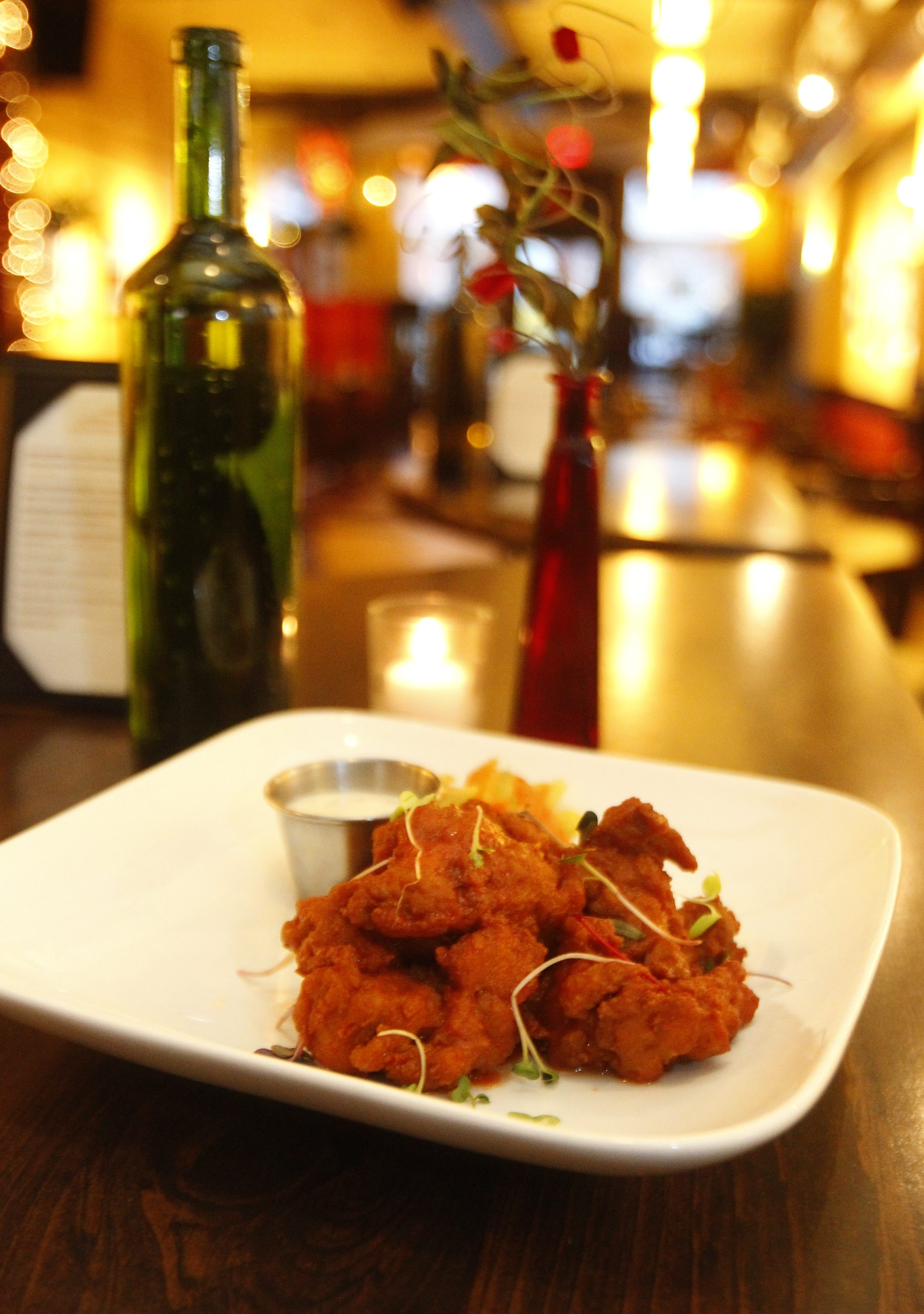 Merge's adventurous fare includes Seitan wings, a vegan dish.