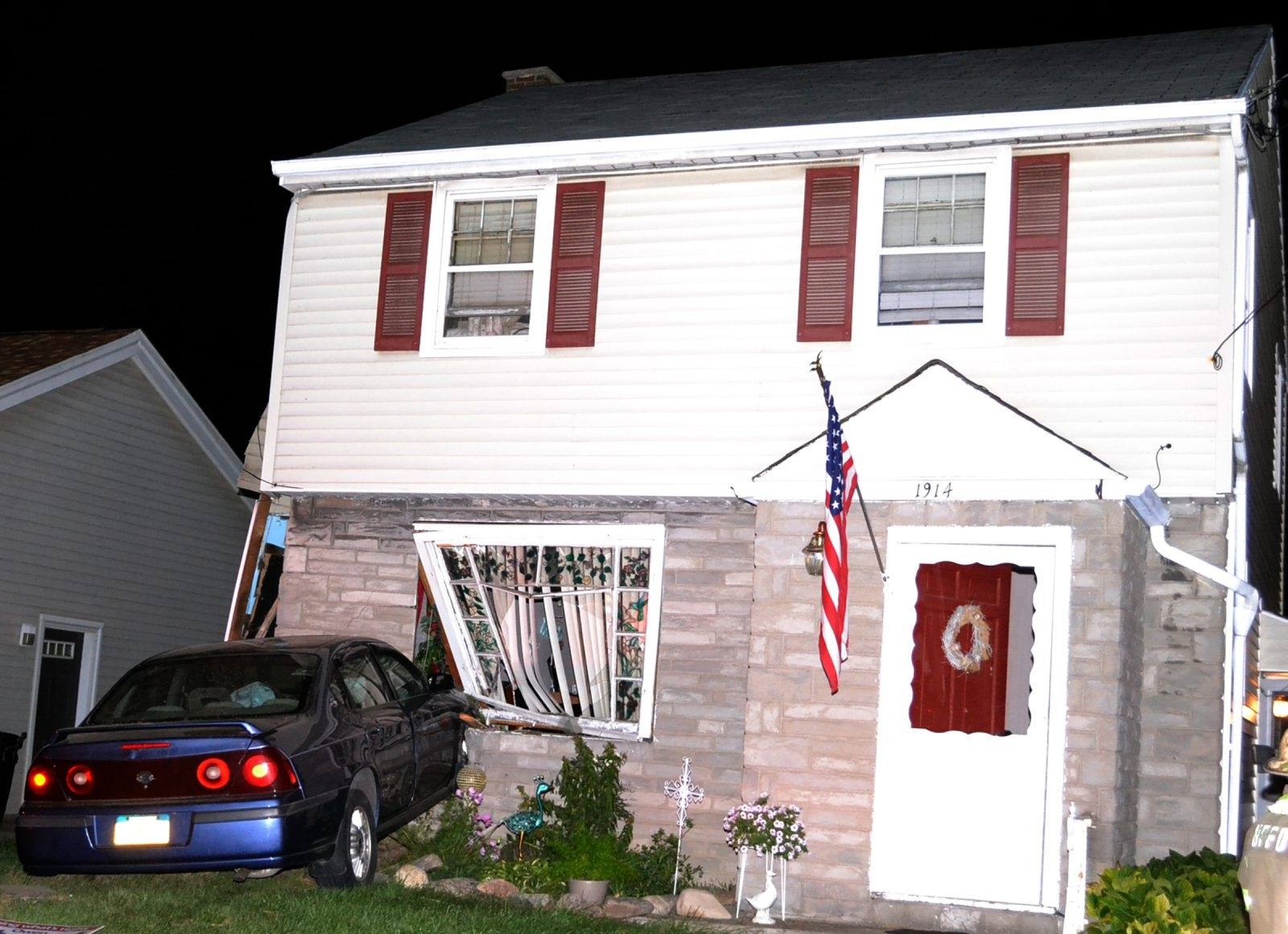 A car crashed Tuesday into this Hyde Park Boulevard home in Niagara Falls, causing an estimated $20,000 in damage.