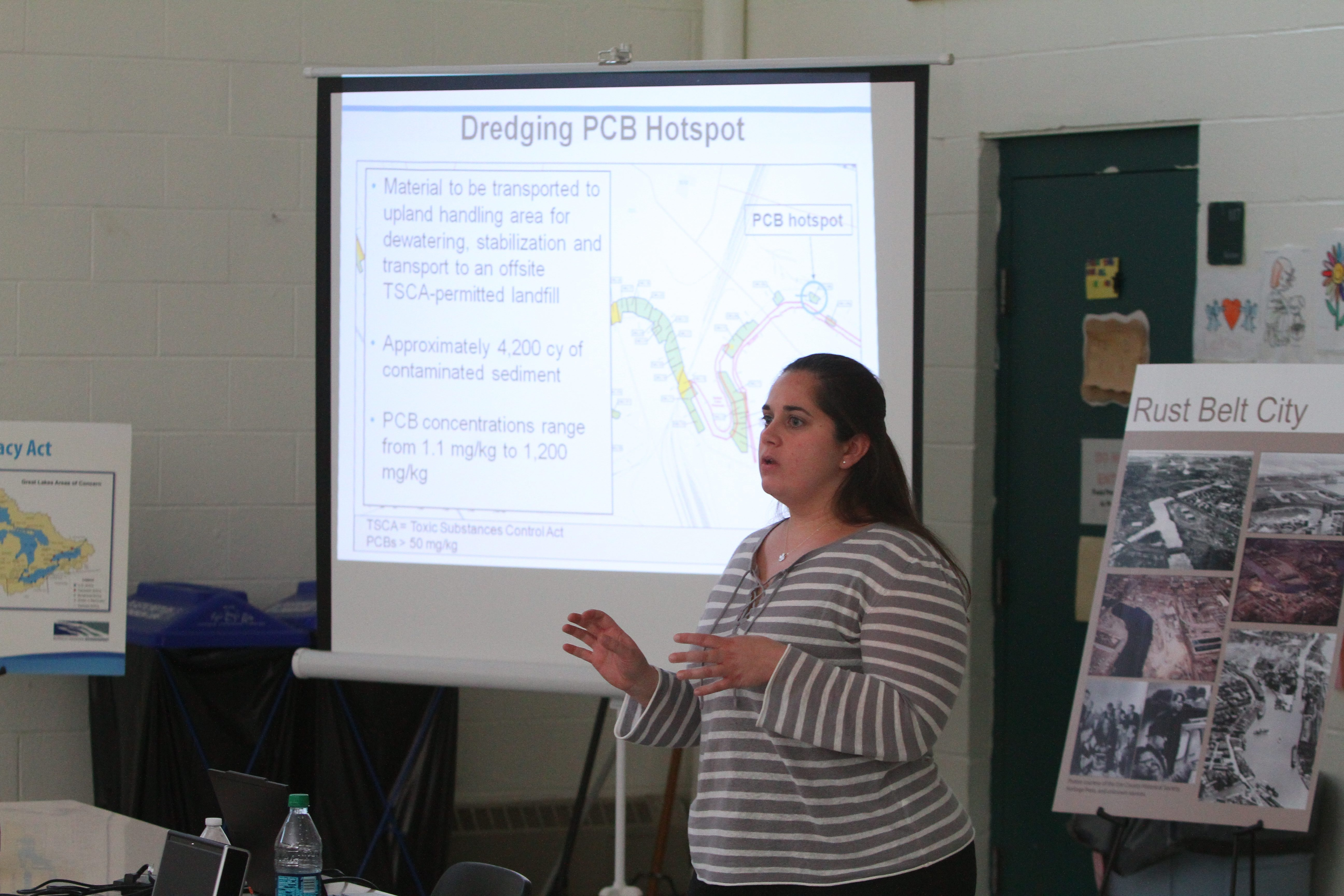 """Mary Beth Giancarlo, a Chicago-based EPA scientist assigned to Buffalo River cleanup, describes progress on the project as """"a milestone"""" as she briefs public meeting on the $44 million next phase."""