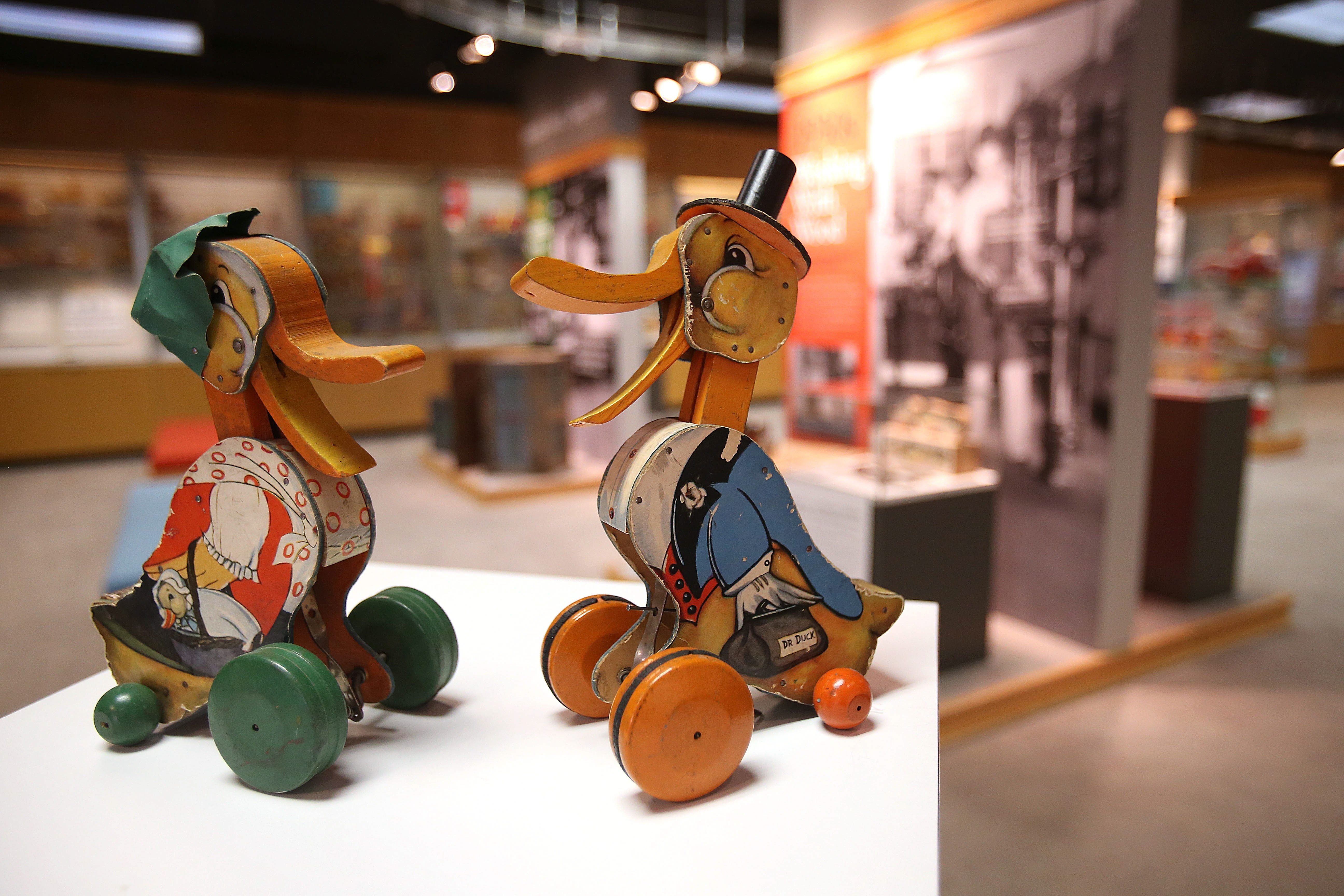 Introduced in 1931, the Dr. Doodle and Granny Doodle ducks were Fisher-Price's earliest pull toys.  These originals are housed in the company's Heritage Center in East Aurora.