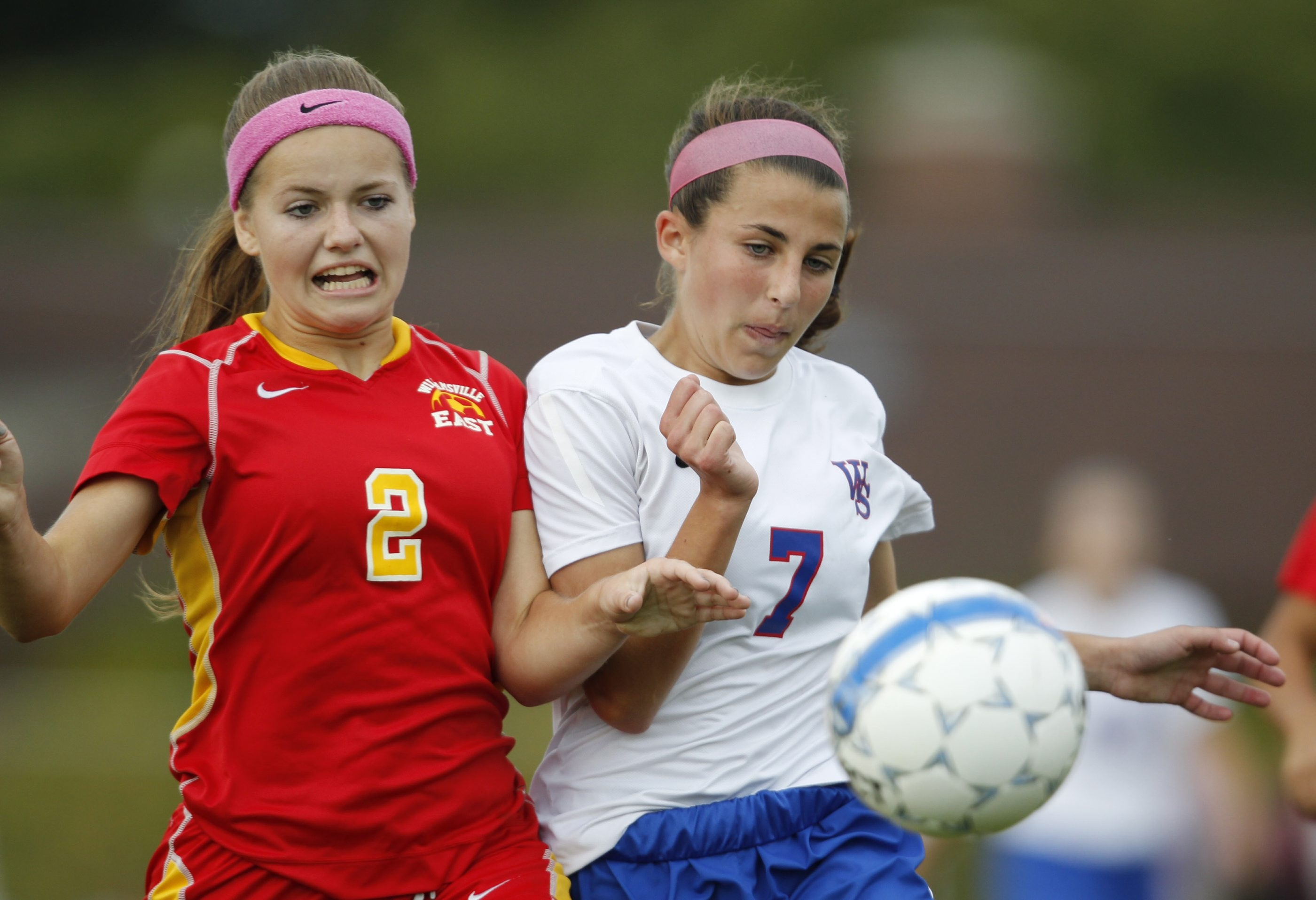 Williamsville South's Jamie Boyar (7) battles Williamsville East's Bridget Scioli during Monday's ECIC II contest, won by South, 3-1. The Billies, ranked No. 1 in WNY, move to 9-0.