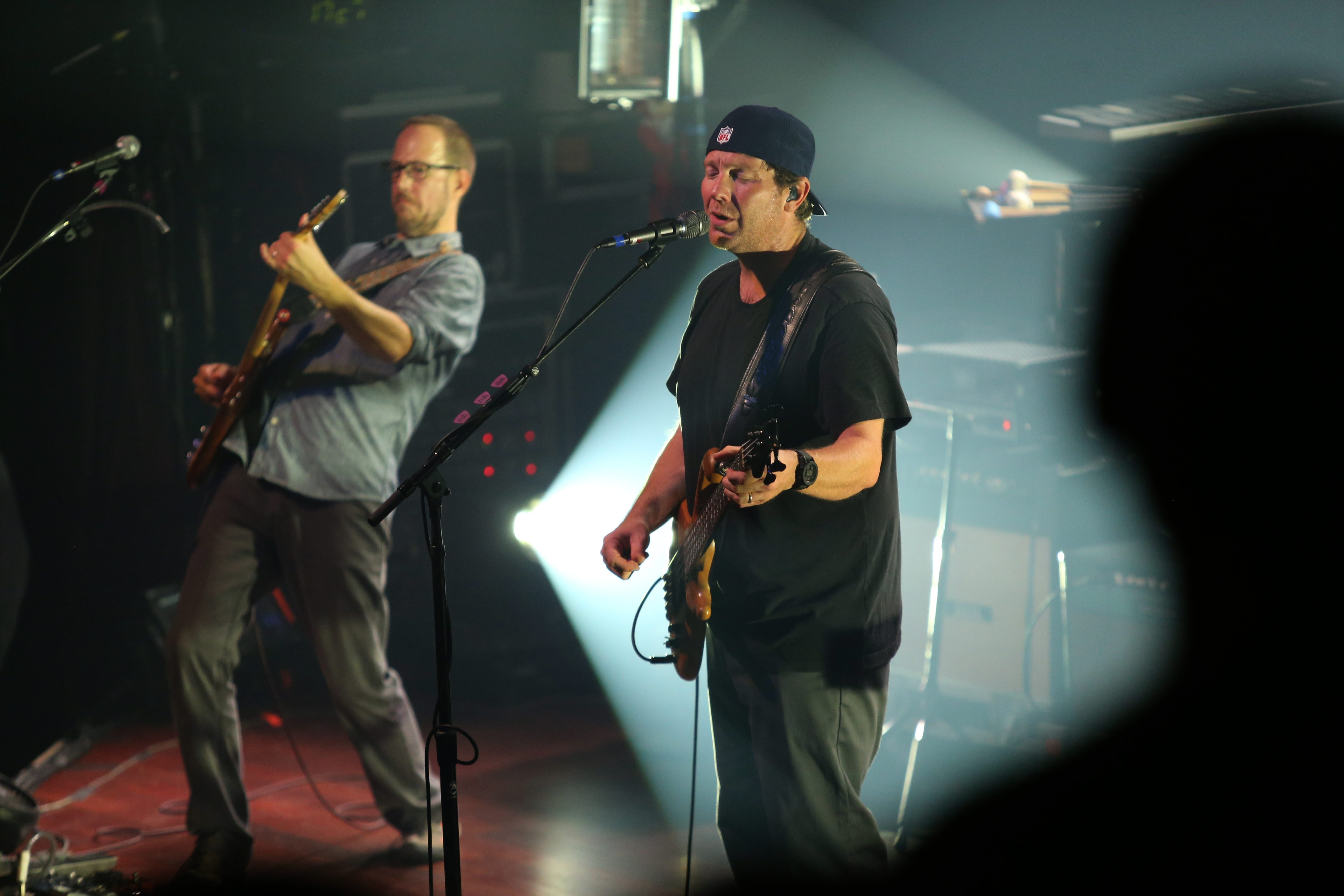 Guitarist Chuck Garvey, left, and bassist/vocalist Rob Derhak perform with moe. Friday evening at the Town Ballroom.