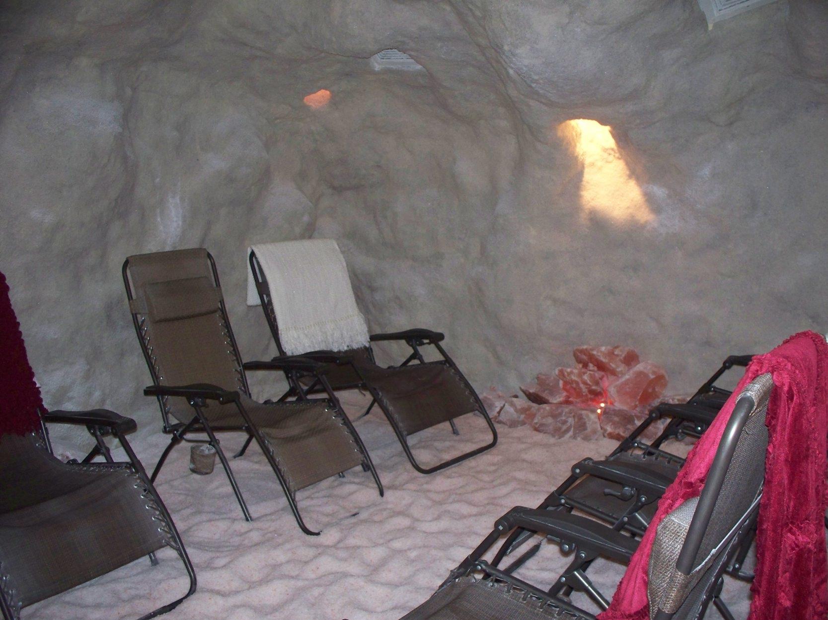 A salt cave at the Salt Sanctuary provides seating for seven.