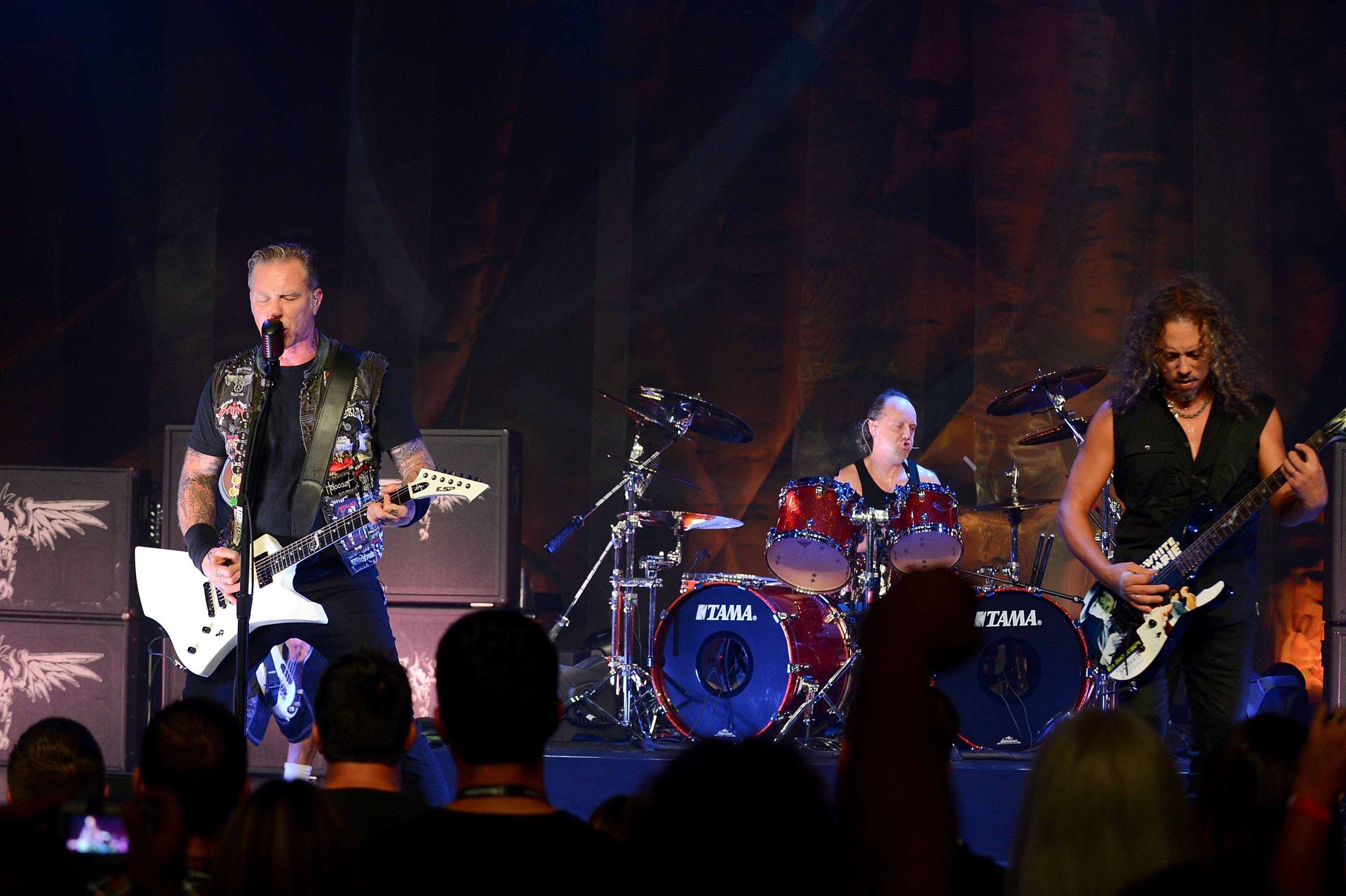 """From left, James Hetfield, Lars Ulrich and Kirk Hammett of Metallica are featured in the new heavy metal documentary/thriller, """"Metallica Through the Never."""""""