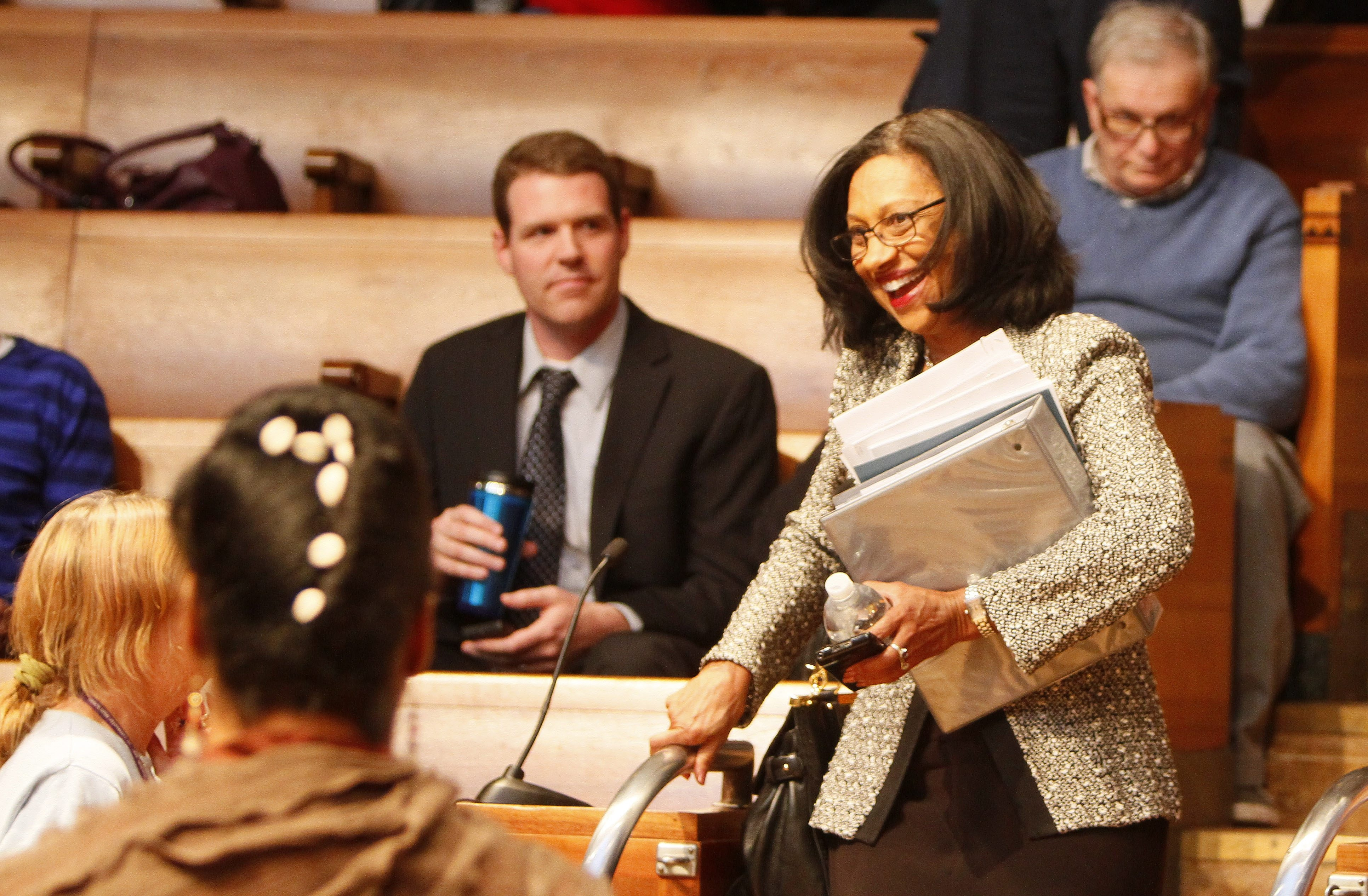 Buffalo Public Schools Superintendent Dr. Pamela Brown enters the council chambers to the applause of supporters before the board meeting at Buffalo City Hall Wednesday.