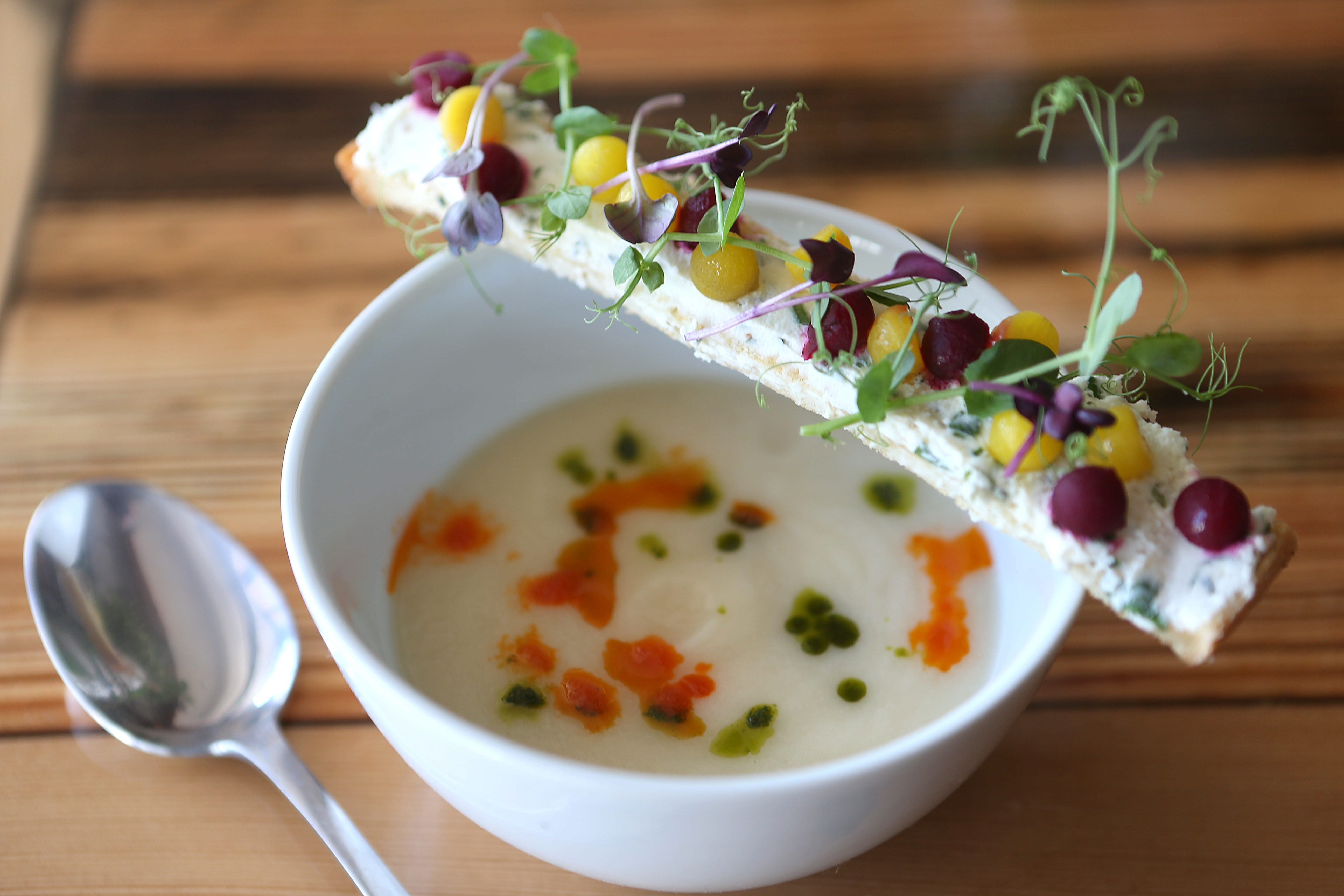 The Pear and Parsnip soup at Martin Cooks in Buffalo on Thursday, Sept. 19, 2013.  (Robert Kirkham/Buffalo News)