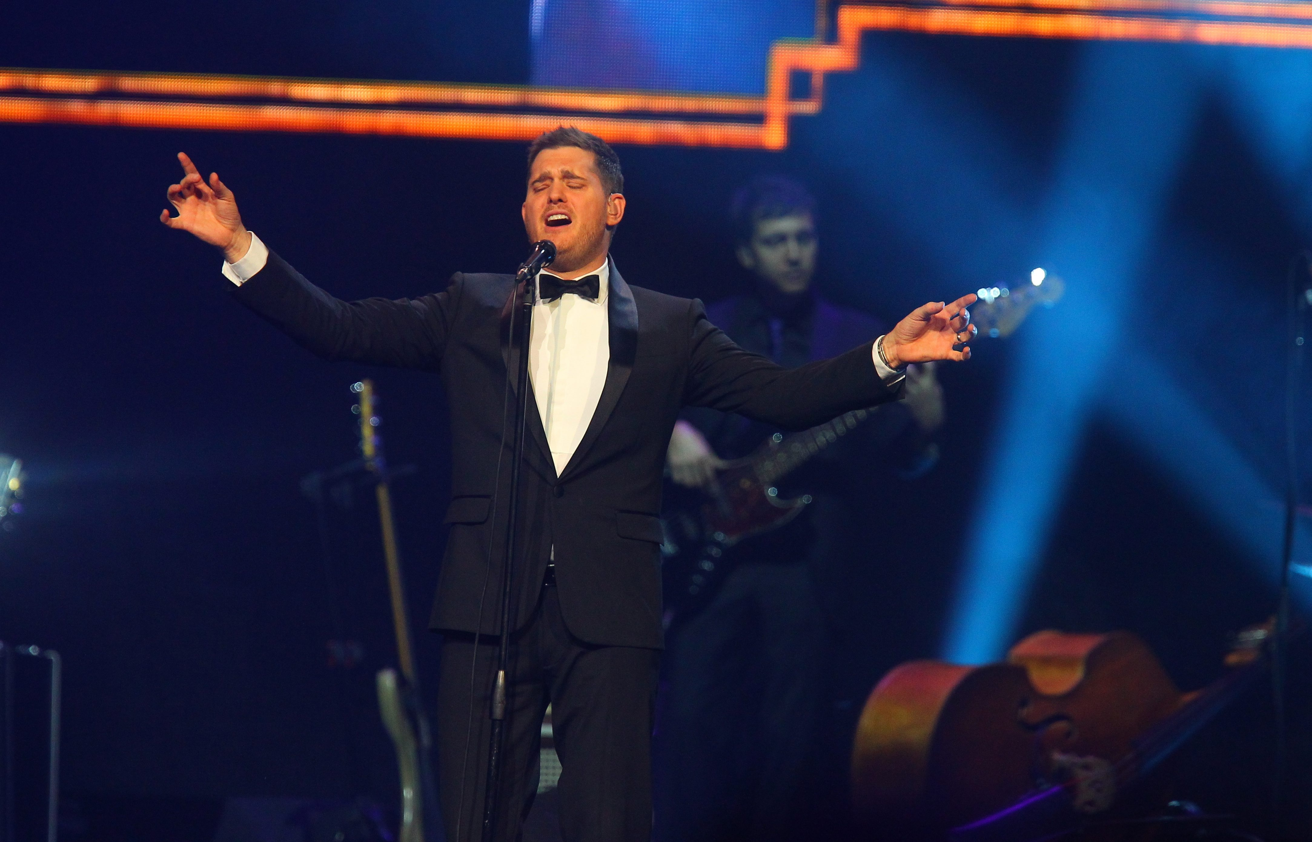 Singer Michael Buble performs Tuesday night in First Niagara Center .
