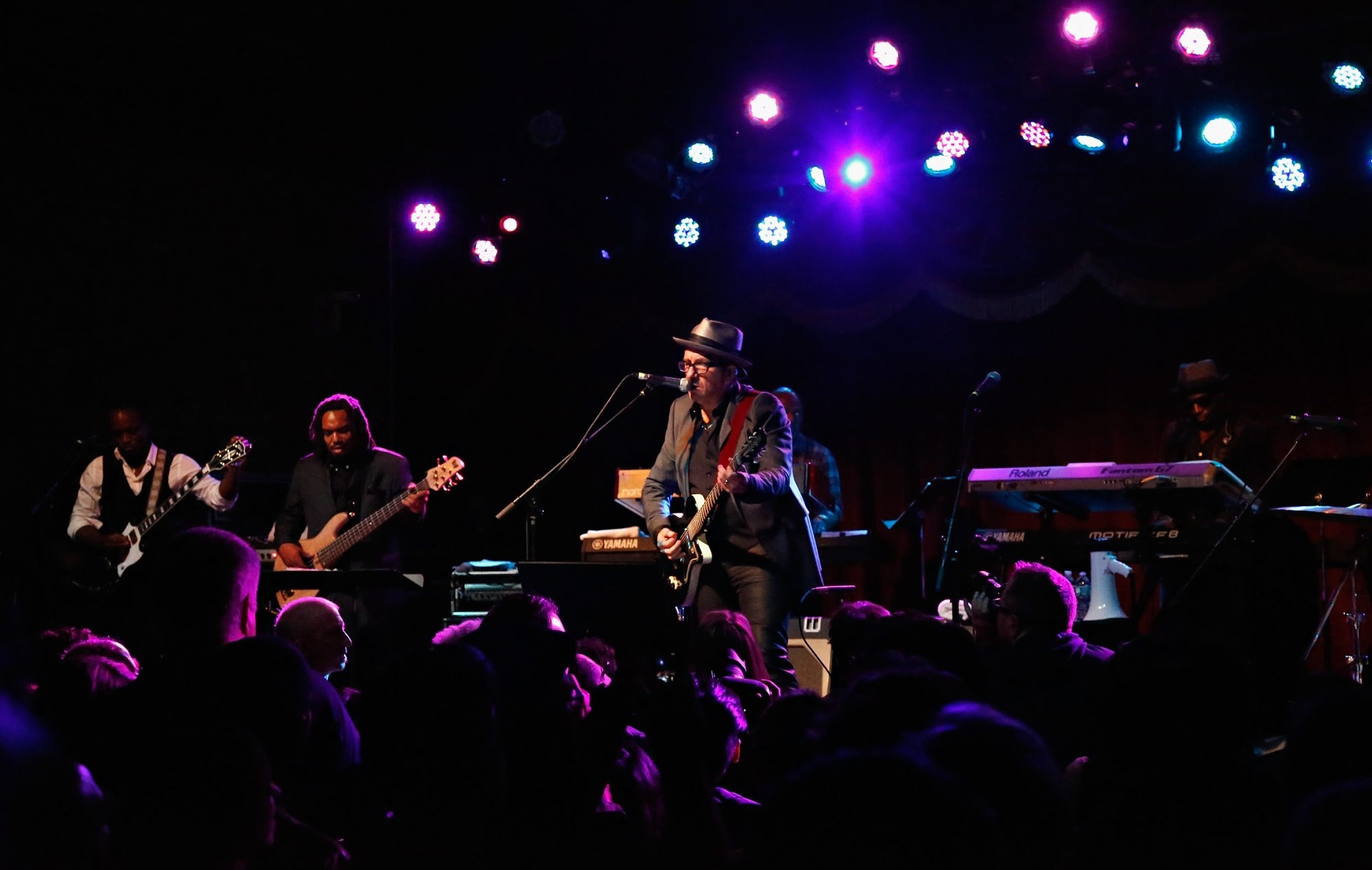 """Elvis Costello and The Roots perform songs from their new album """"Wise Up Ghost"""" at Brooklyn Bowl in New York City."""