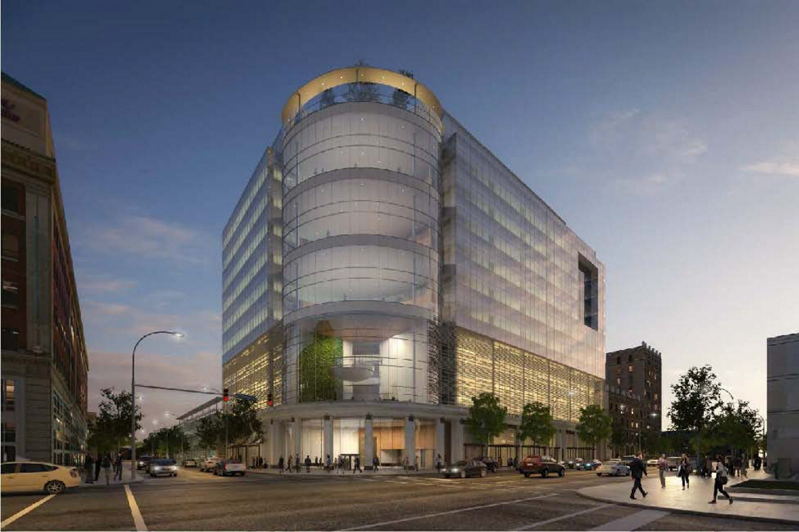 Uniland project, Delaware and Chippewa, includes hotel, office space, retail, and parking ramp.