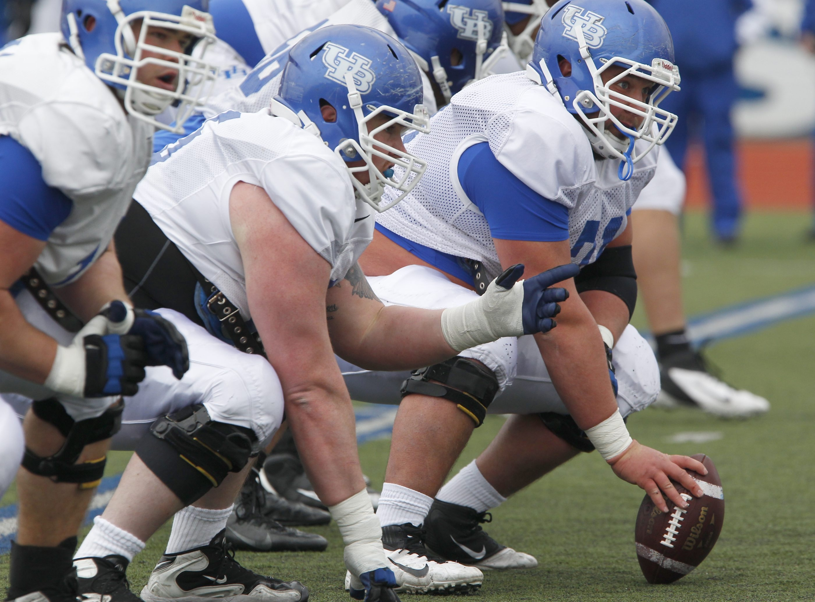 Football and music, from hip hop to old school, are the two main passions of UB center Trevor Sales.