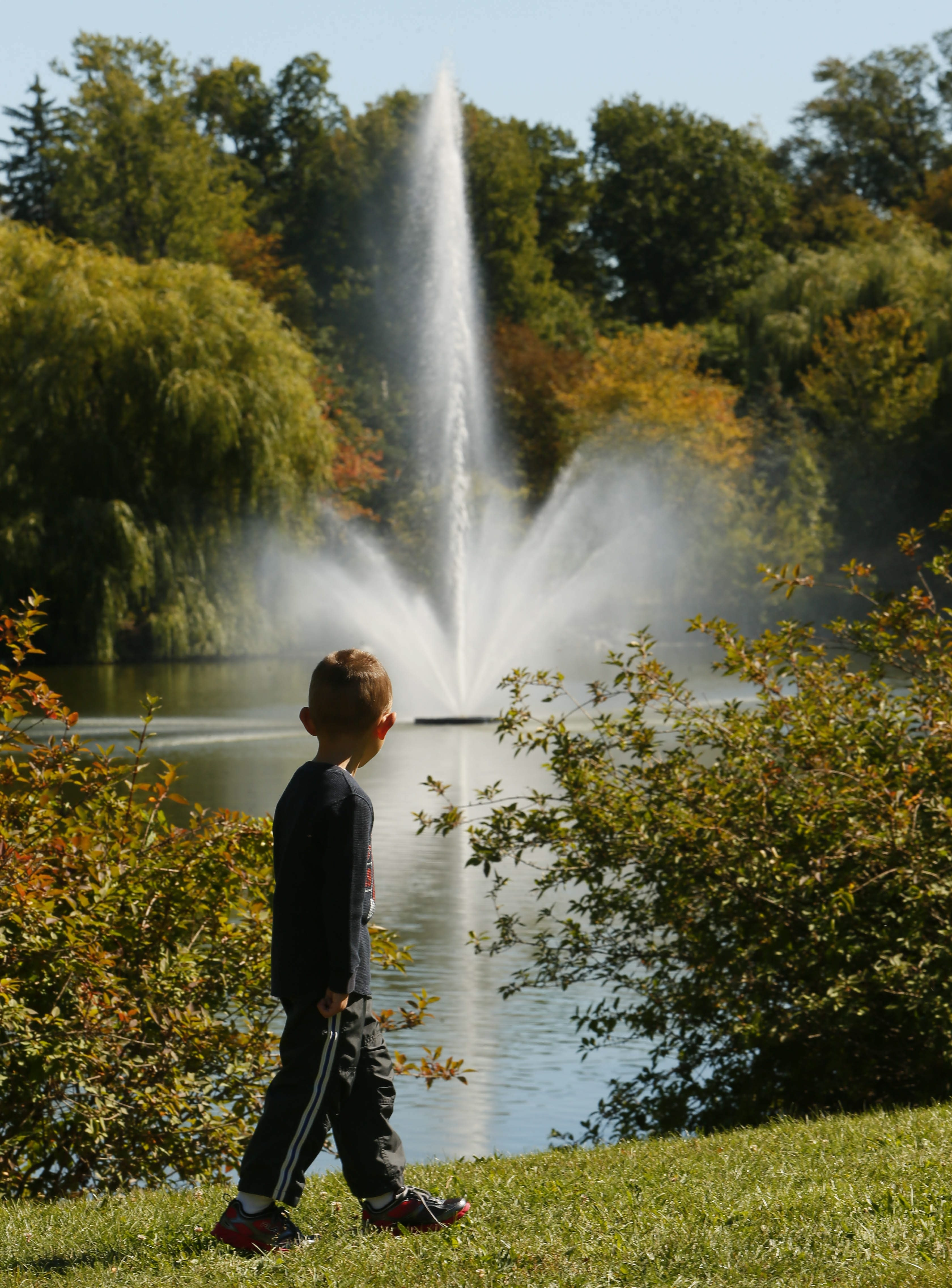 A youngster stops to look  as the new fountain in Hoyt Lake spews water into the air. It was built to emulate the original one that was built in 1897 and is shown at left in an old postcard.