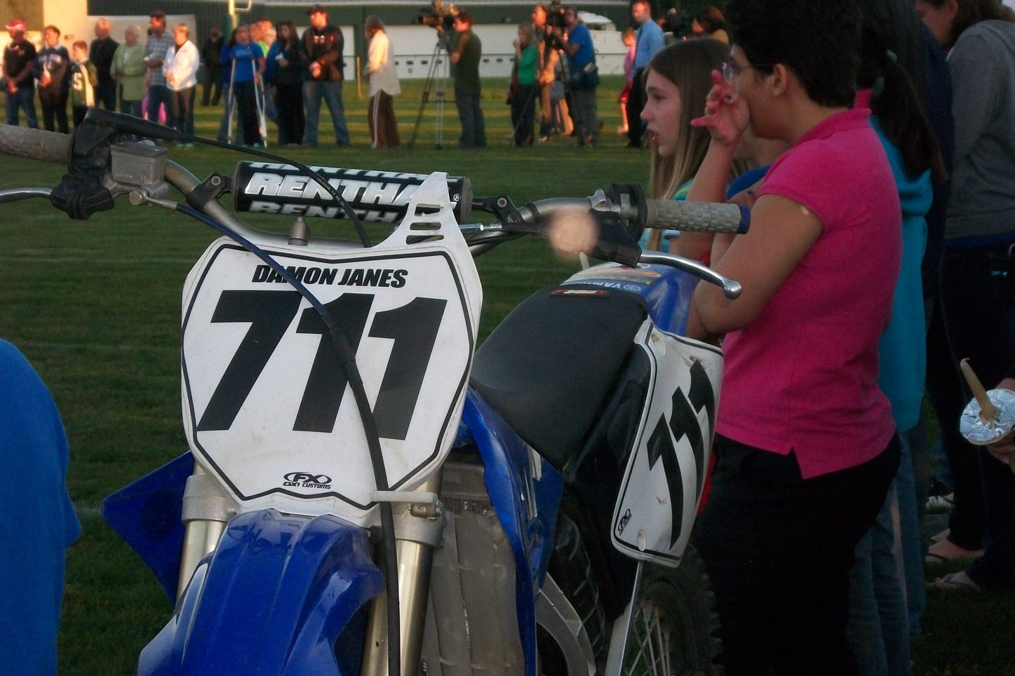 Damon's bike – number 711 – circled the school's football field and was parked near the 50-yard line.