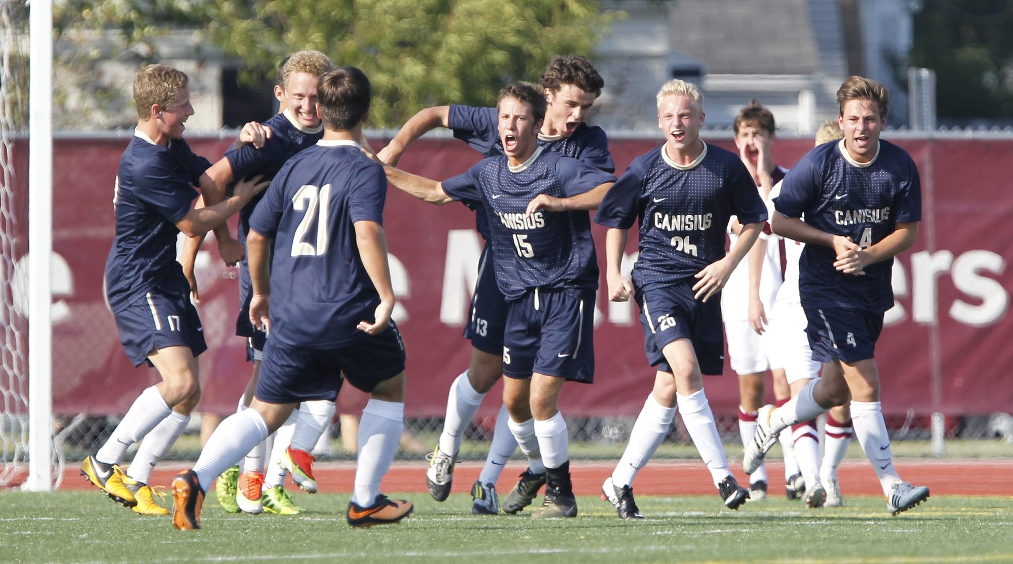 Canisius has had plenty to celebrate recently, last year's Catholic state title and this year's win over rival St. Joe's (above).