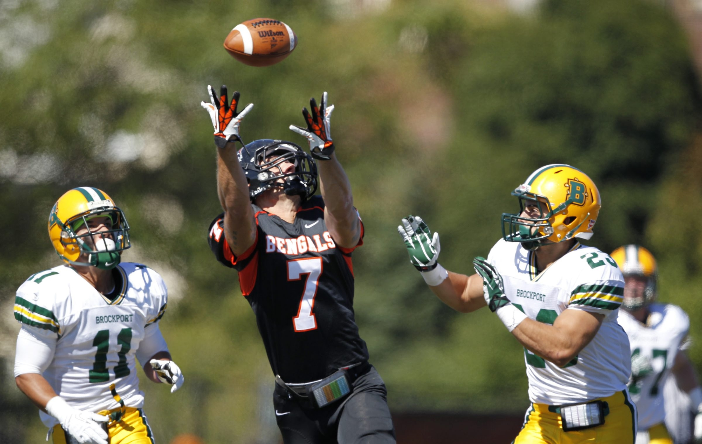 Buffalo State's Mike Doherty (7) makes one of his 10 catches in Saturday's 42-40 win over Brockport.