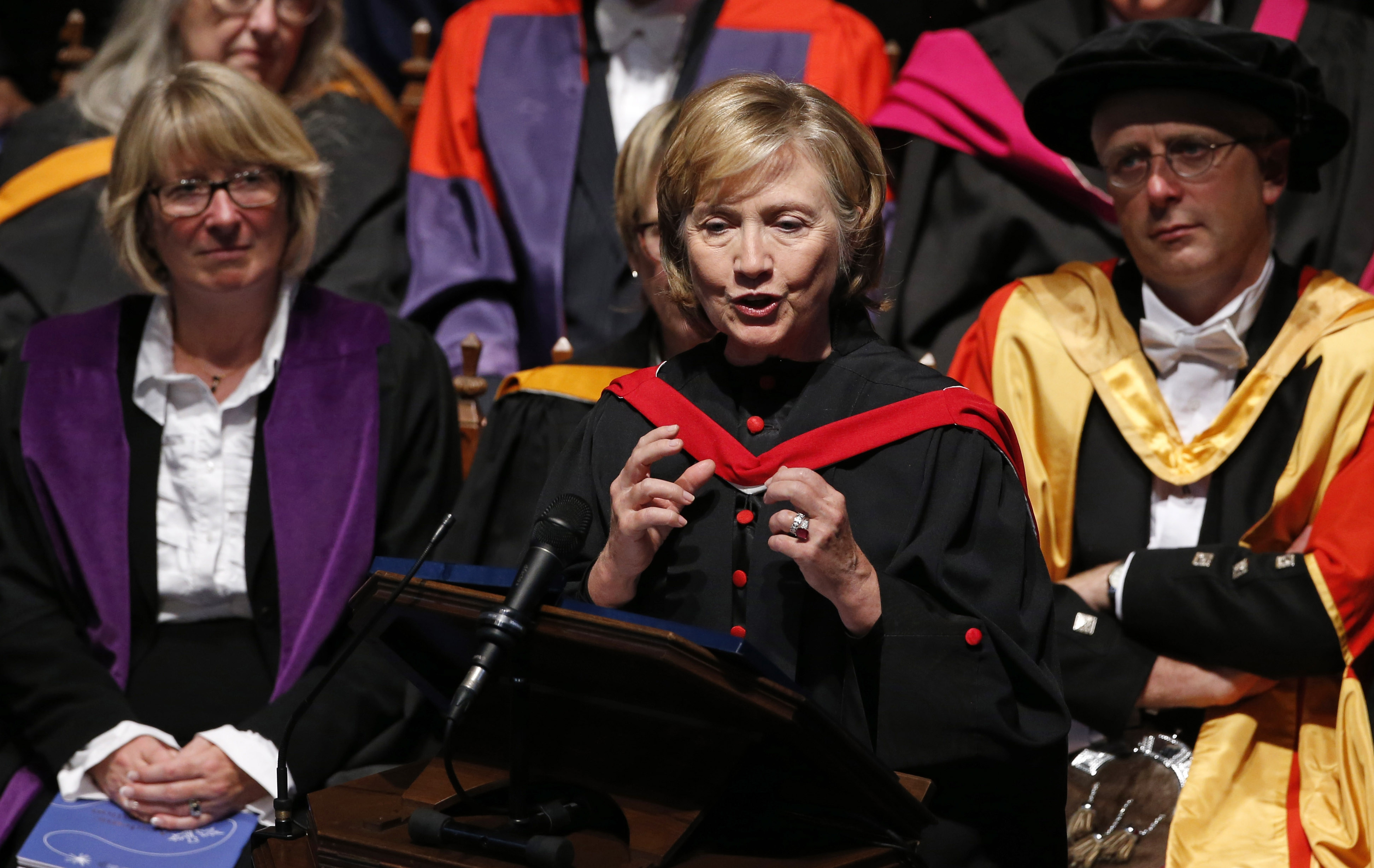 A Scottish sheepskin: Former Secretary of State Hillary Clinton was in Scotland Friday,addressing graduates of St Andrew's University. She received an honorary doctor of law degree.