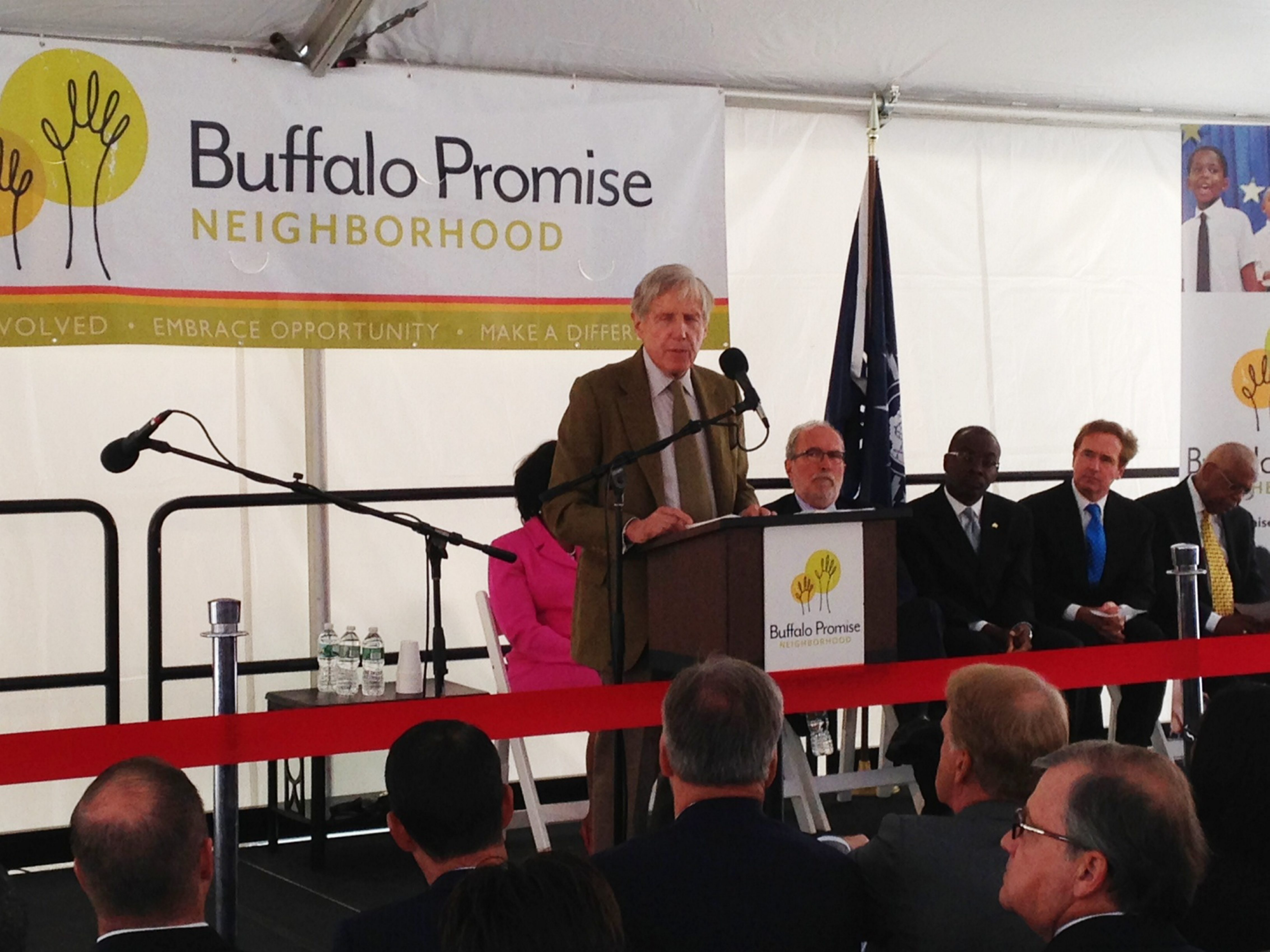 Robert G. Wilmers, chairman and CEO of M&T Bank, speaks at the Buffalo Promise Neighborhood Children's Academy grand opening today.