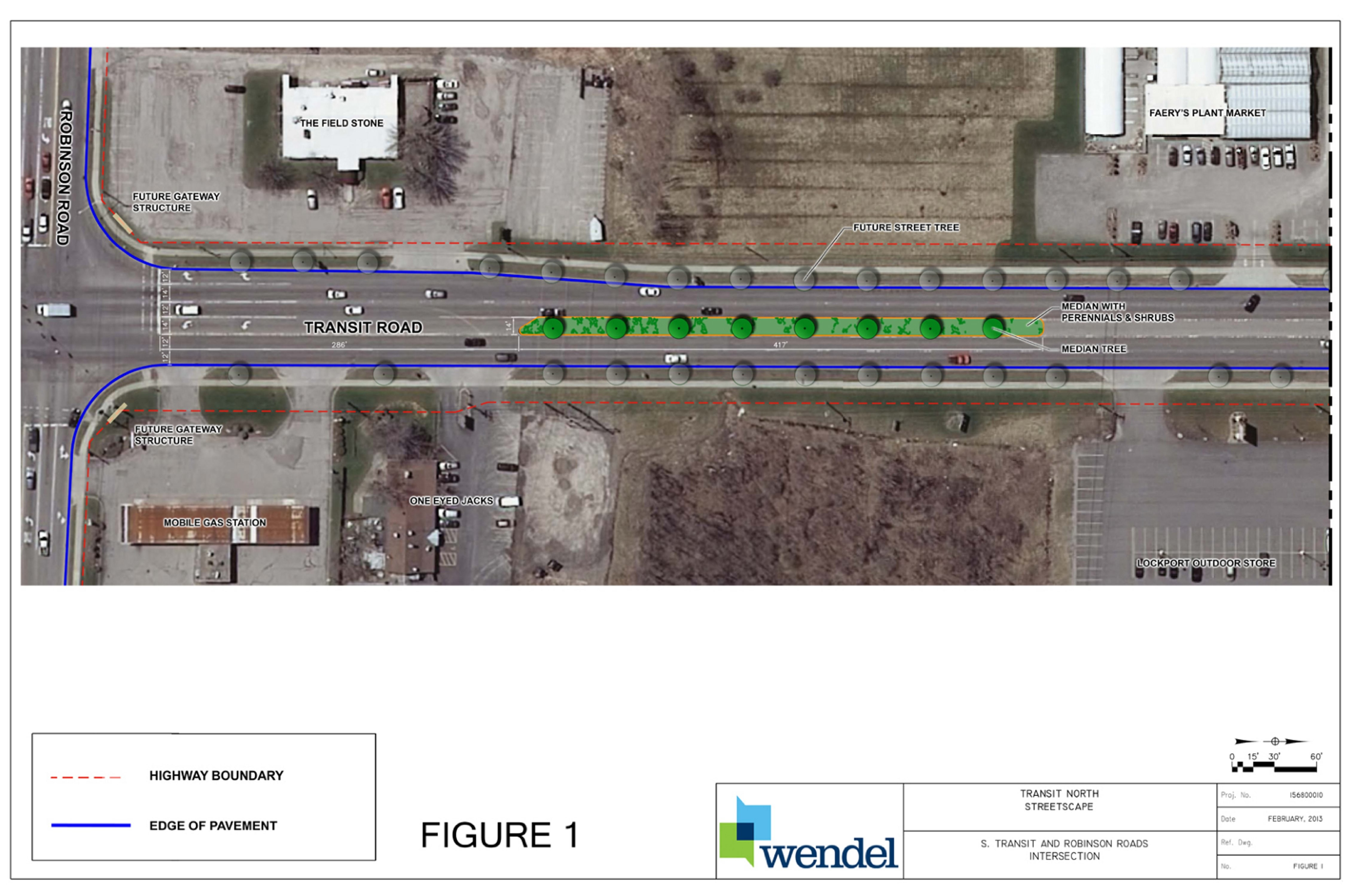 This rendering shows some of the changes that would be made to South Transit Road in the Town of Lockport under a proposal to install and landscape 877 feet of traffic medians.