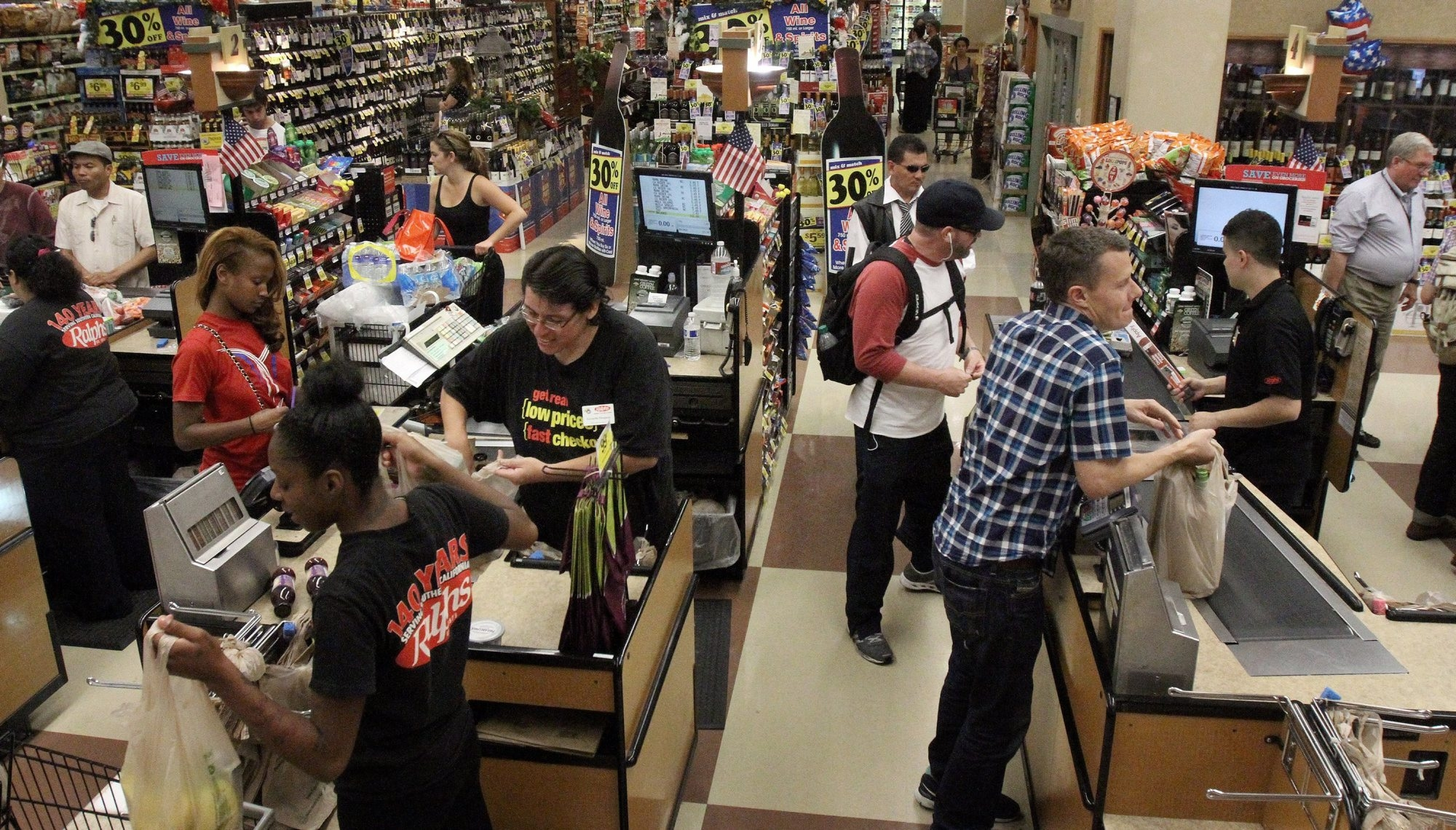 Ralphs grocery stores in Los Angeles have adopted the QueVision system, which uses infrared cameras to determine how many customers are in a store so managers can redeploy workers to the cash registers.