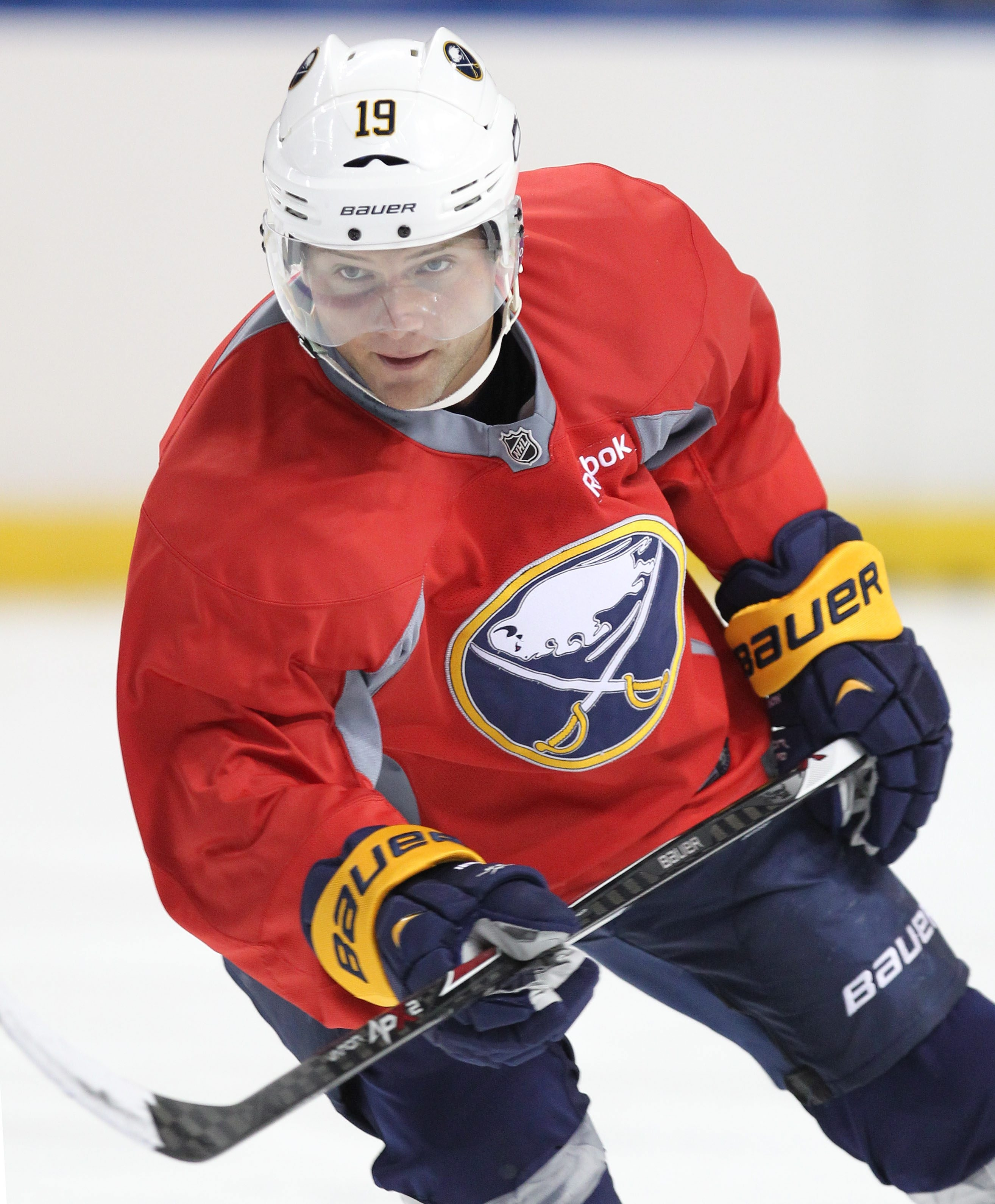 Cody Hodgson looks for a pass during Sabres training camp at the First Niagara Center today.