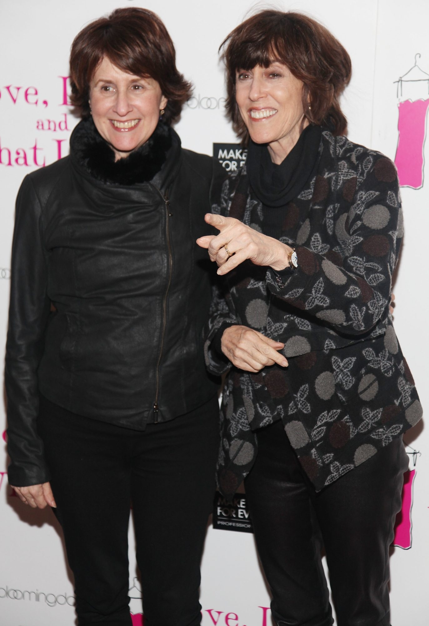"""Delia Ephron, left, and Nora Ephron attend the """"Love, Loss, and What I Wore"""" 500th performance celebration in 2011  in New York City."""