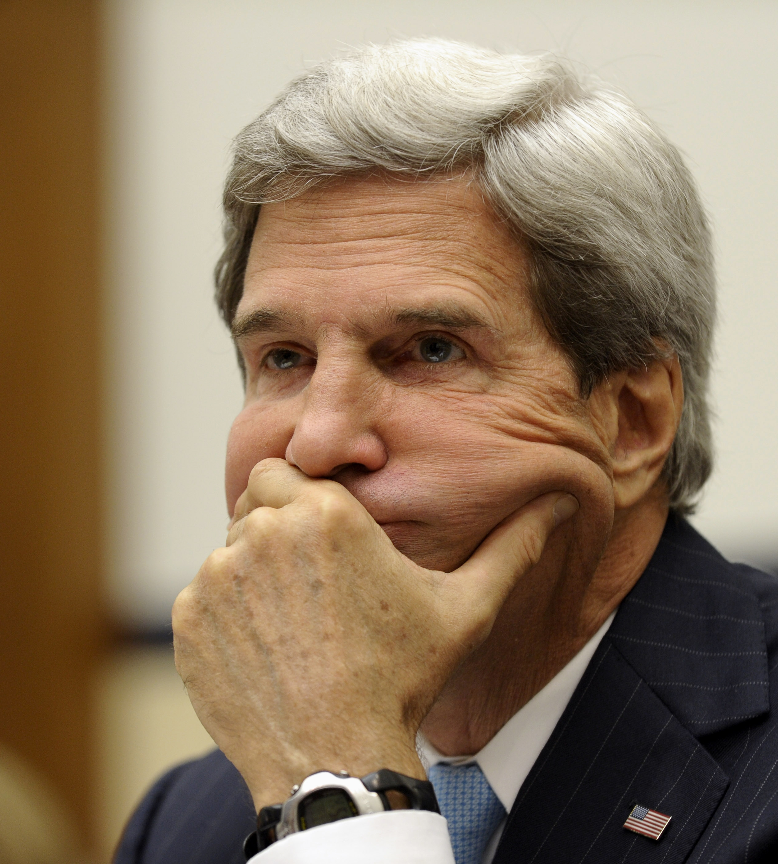 Secretary of State John Kerry waits to testify on Capitol Hill Tuesday before the House Armed Services Committee.
