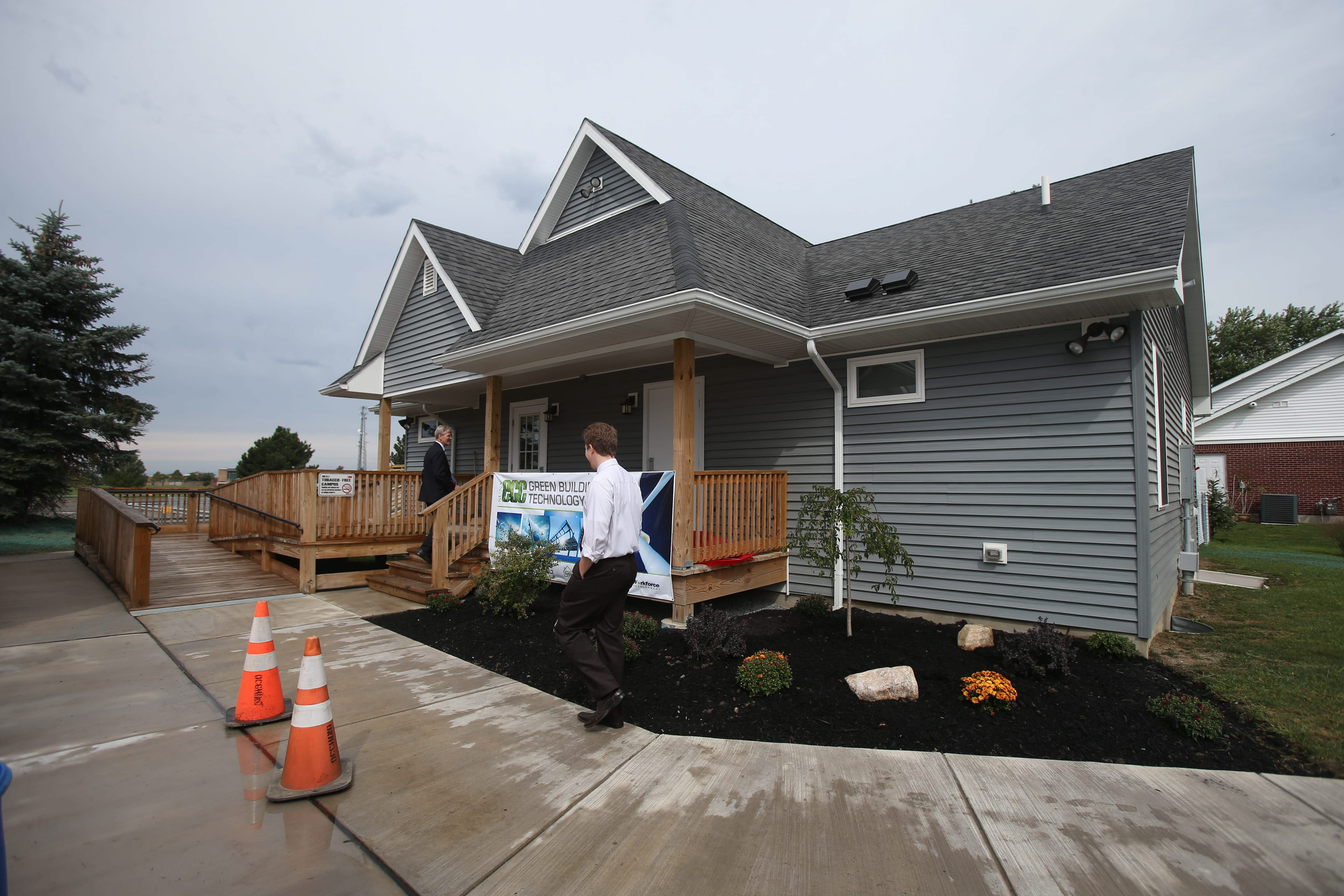 This new house on Abbott Road in Orchard Park, next to ECC's South Campus, will train students to install and repair solar, wind and geothermal technologies, all of which the home utilizes.