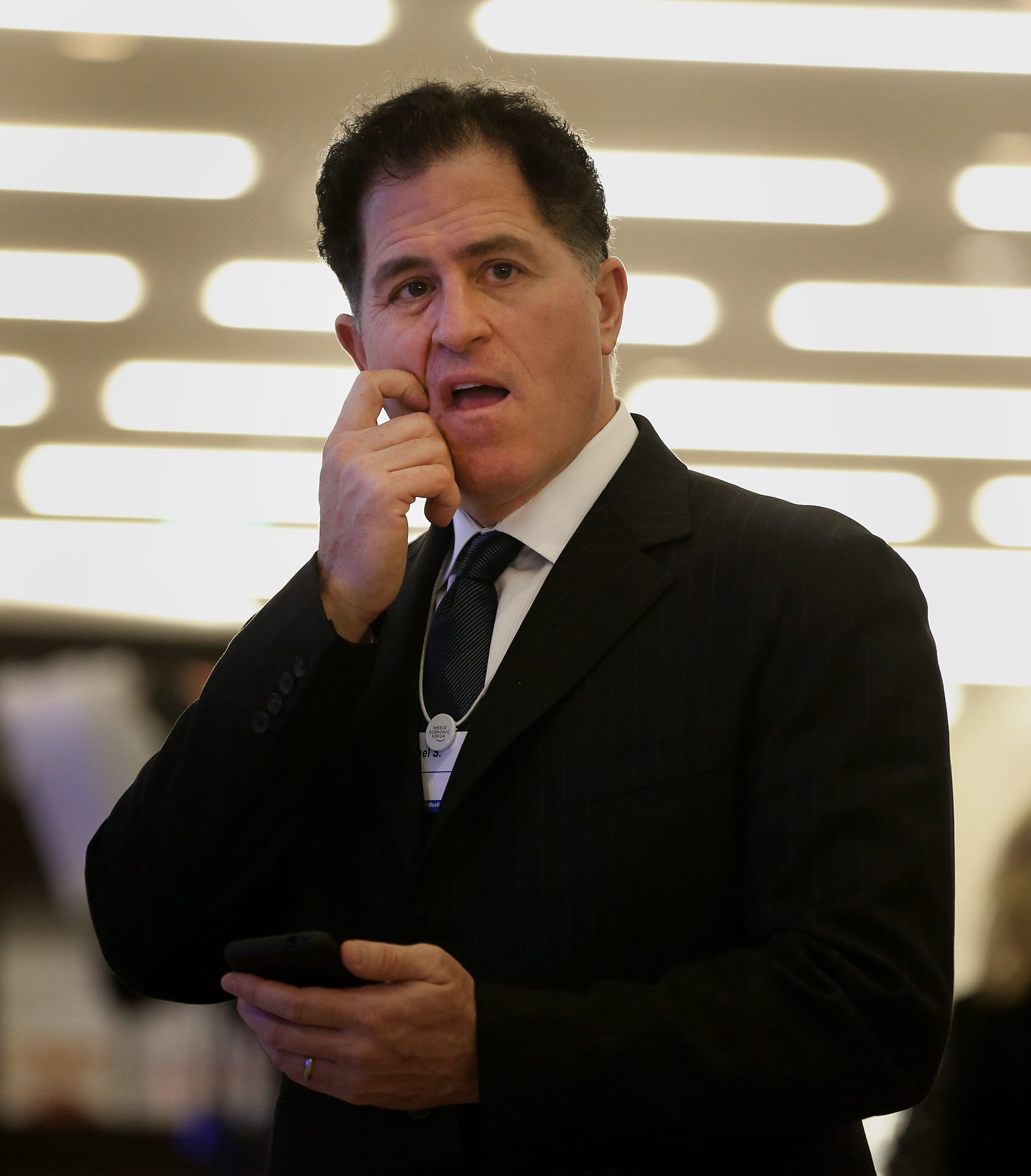 Michael Dell, chairman and chief executive officer of Dell Inc., speaks to fellow delegates in the Congress Center on day three of the World Economic Forum (WEF) in Davos, Switzerland, on Friday, Jan. 25, 2013.
