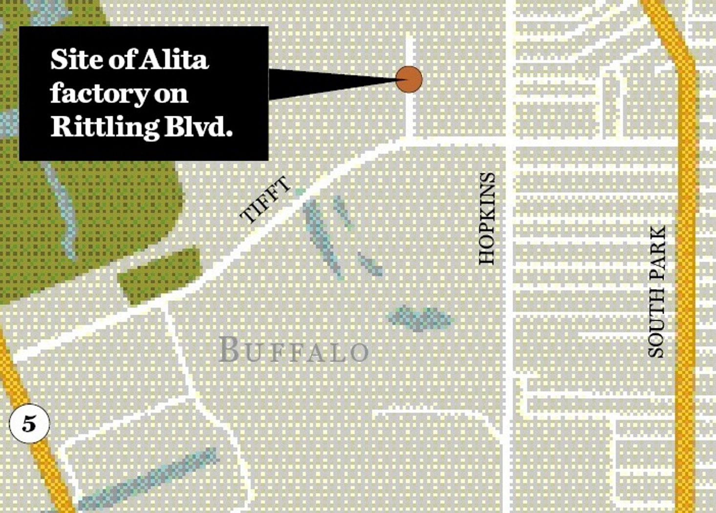 Map shows site of proposed Alita factory.