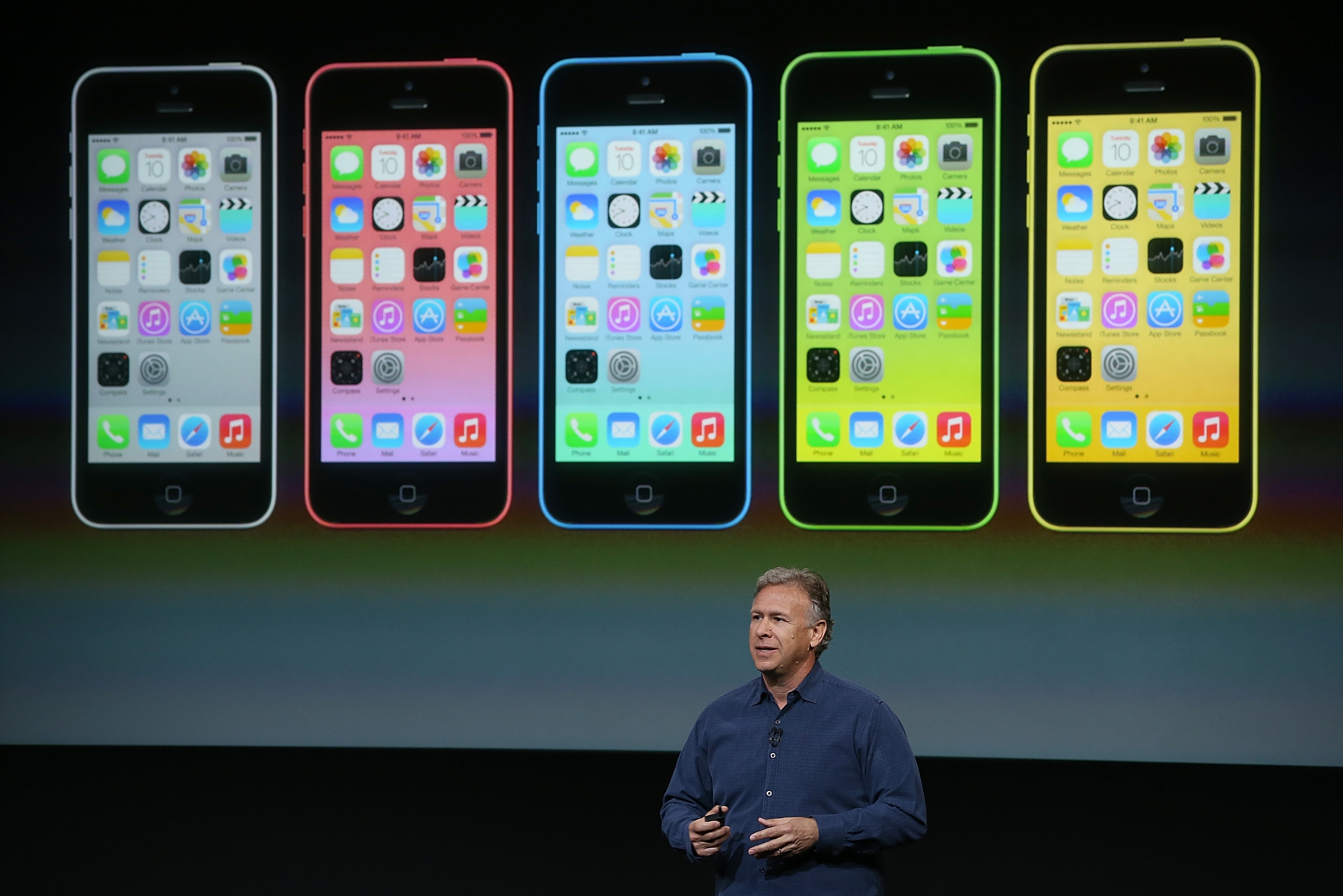 Apple Senior Vice President of Worldwide Marketing Phil Schiller speaks about the new iPhone 5C during an Apple product announcement today. The company launched the new iPhone 5C model that will run iOS 7 is made from hard-coated polycarbonate and comes in various colors.