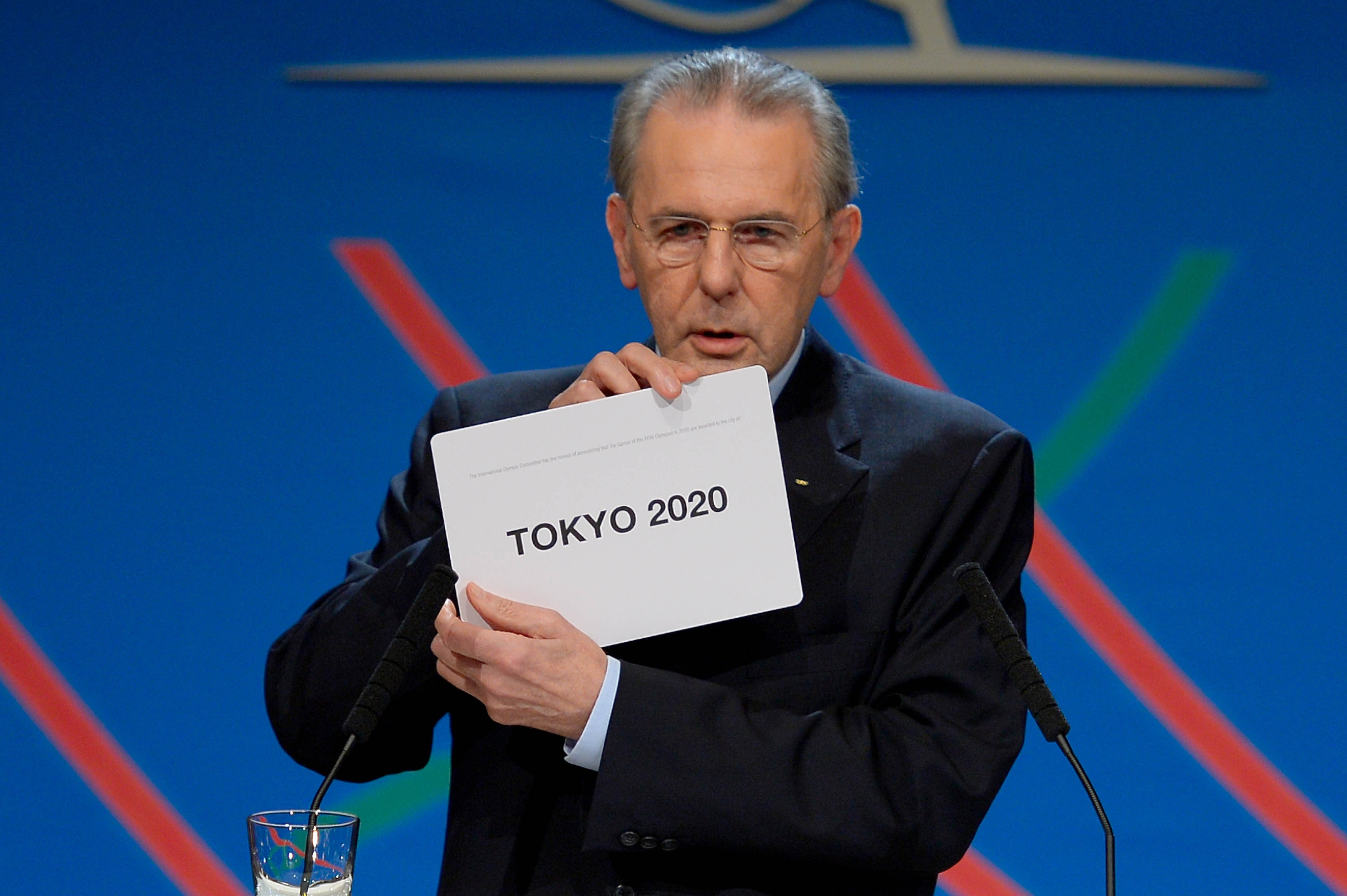 International Olympic Committee President Jacques Rogge shows that Tokyo was selected to host the 2020 Summer Olympics during a session of the IOC in Buenos Aires on Saturday.