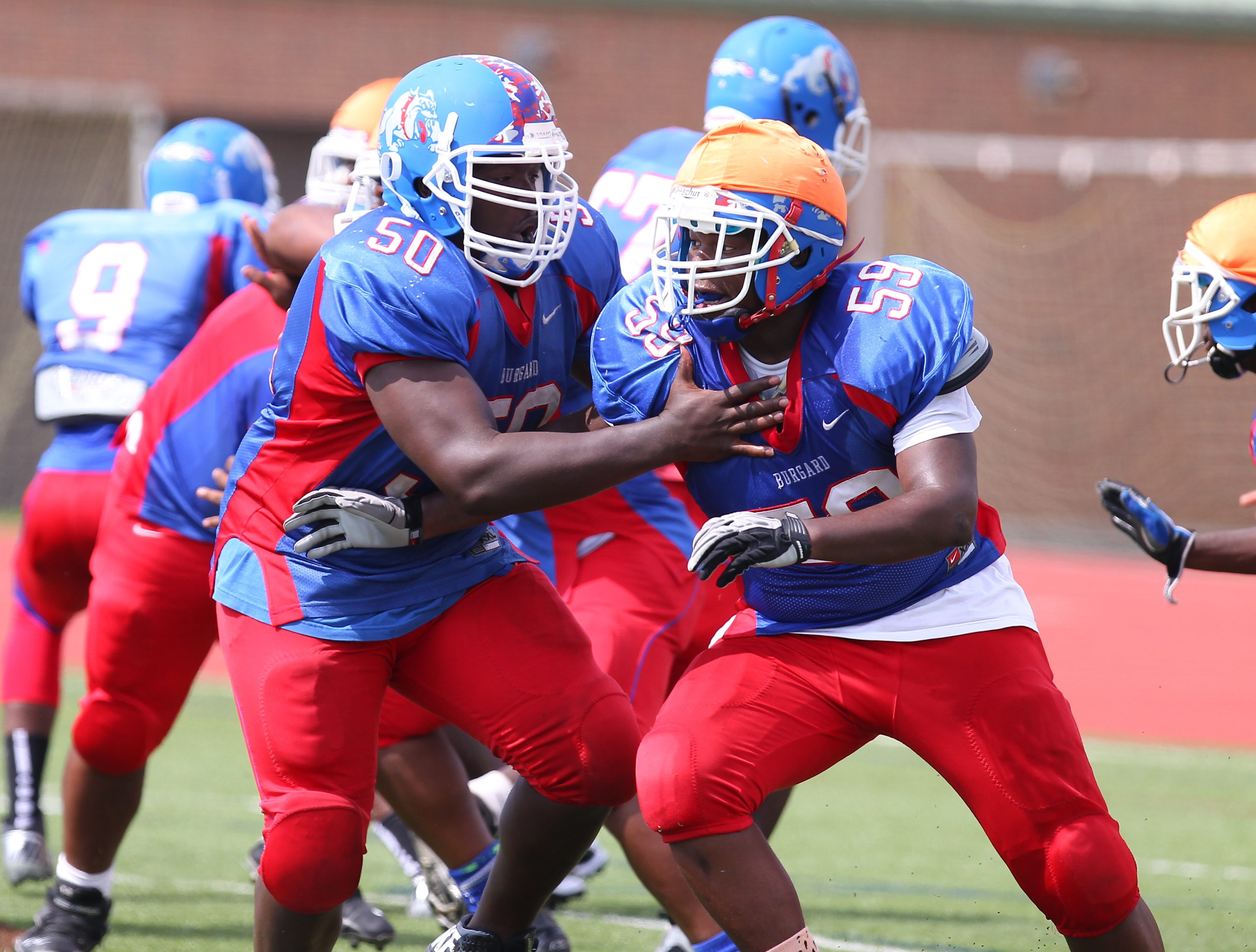 Riverside transfer Kevon Perry (50) and Vernon McCutcheon (59) will be part of Burgard's line.