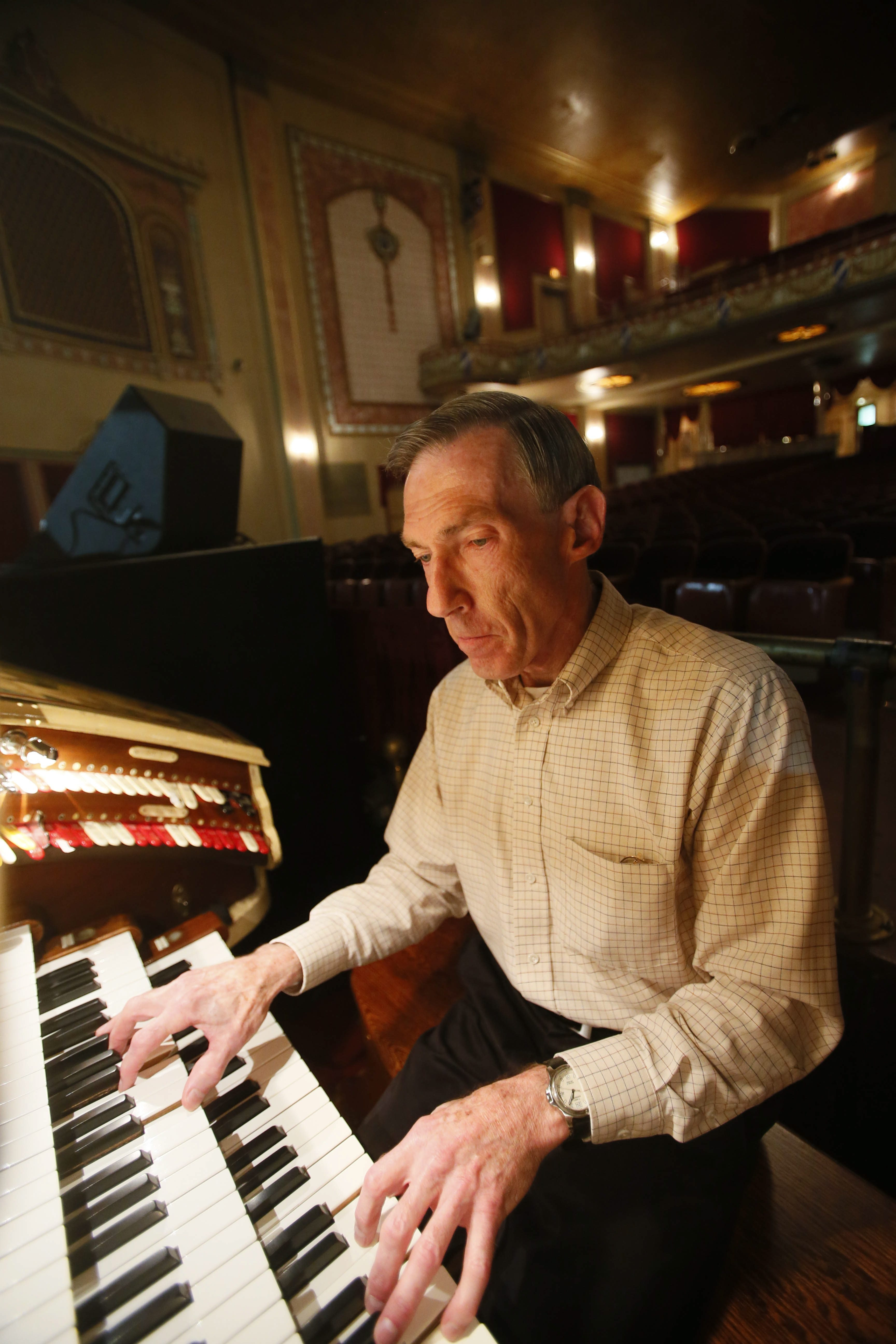Tom McGinley plays the Mighty Wurlitzer at the Riviera Theatre in North Tonawanda. He has been the house organist for nearly 10 years.
