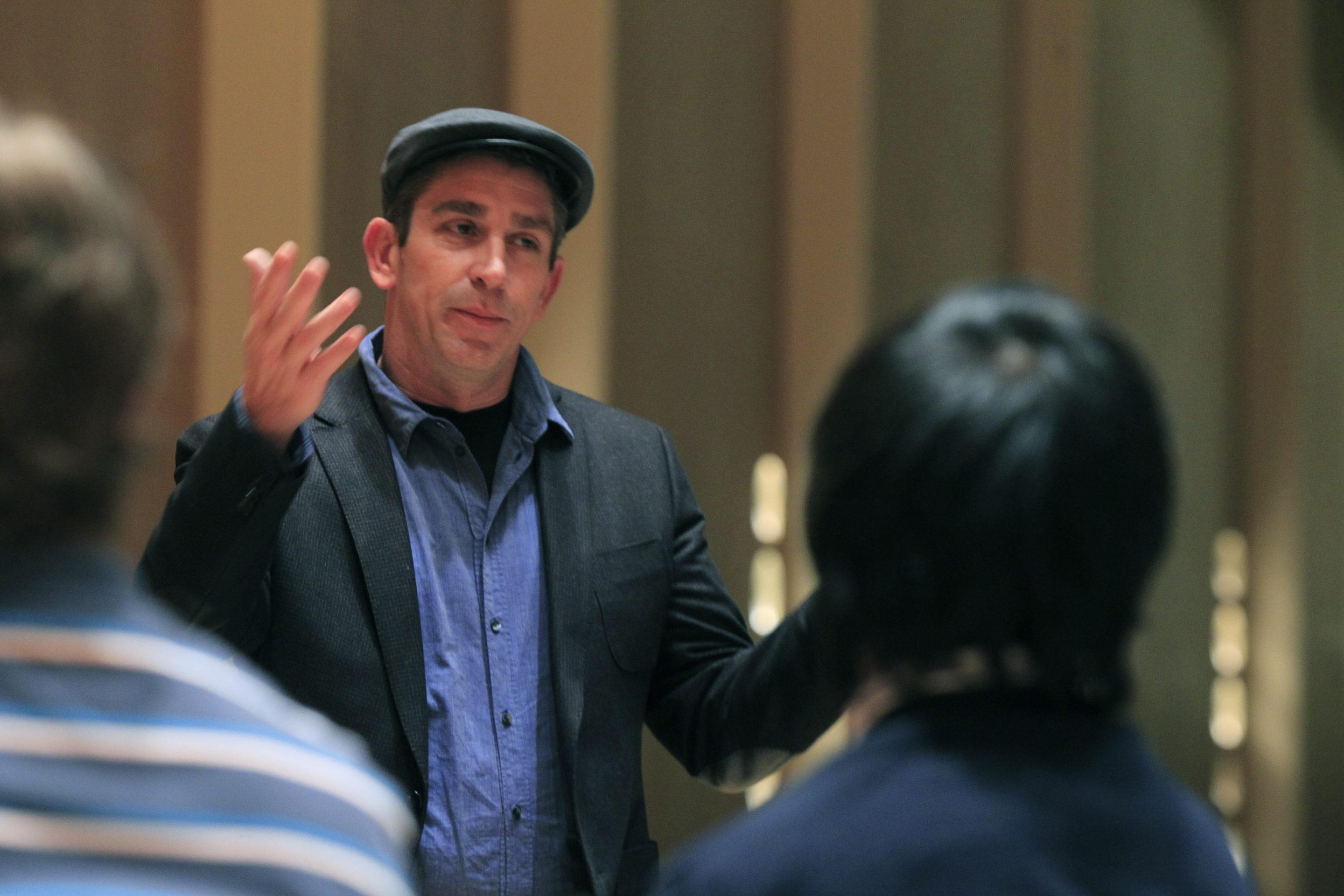 poet Richard Blanco, the first reader in this year's Babel reading series, speaks to selected high school students at Kleinhans Music Hall  ,on Tuesday, Oct. 22, 2013.(Harry Scull Jr./Buffalo News)
