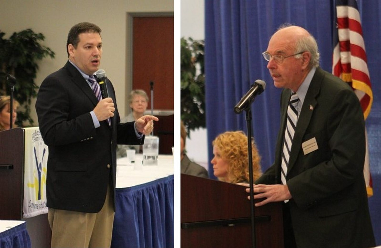 Incumbent Republican Amherst supervisor Dr. Barry Weinstein, right, and Democratic challenger Mark Manna participated in a candidate forum Thursday at the Amherst Center for Senior Services. (Sharon Cantillon/Buffalo News)