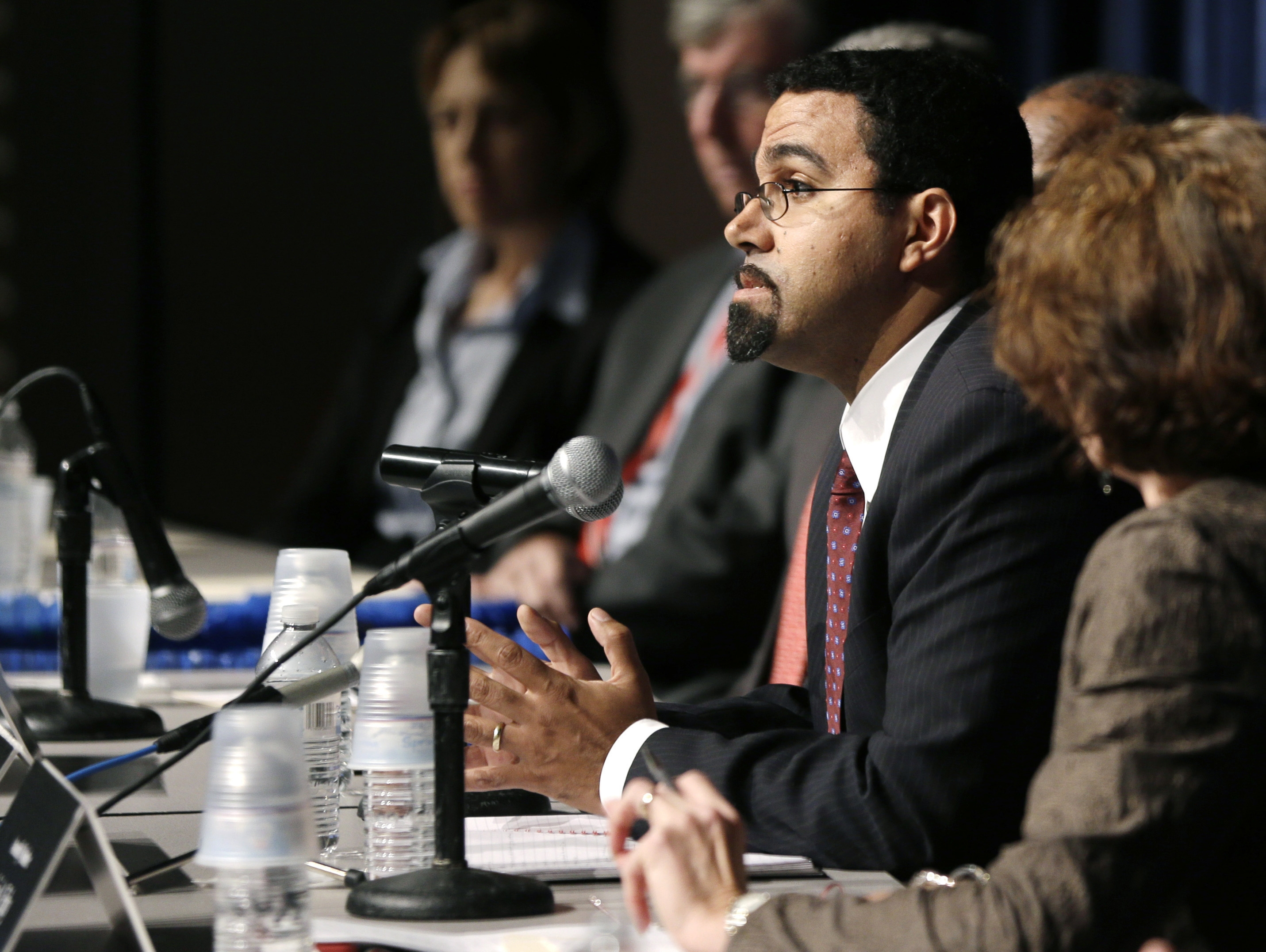 State Education Commissioner John B. King Jr. attends a forum on the new Common Core standards Thursday at a school in Albany. (AP photo)