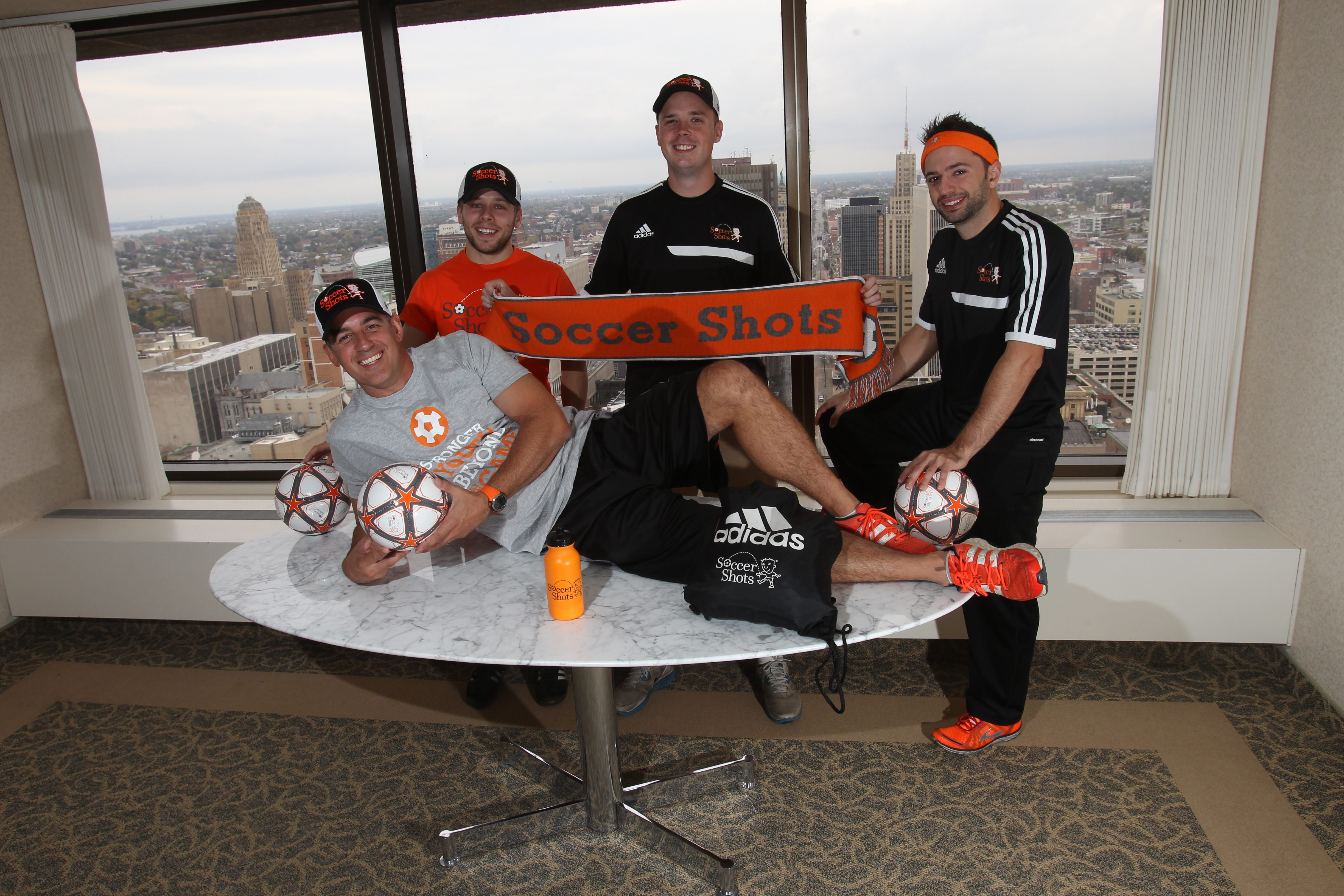 From left, Western New York Soccer Shots office manager Eli George, program ambassdor Yuri Polychenko, director of coaching Justin Sims and Executive Director Mark Miller, front.