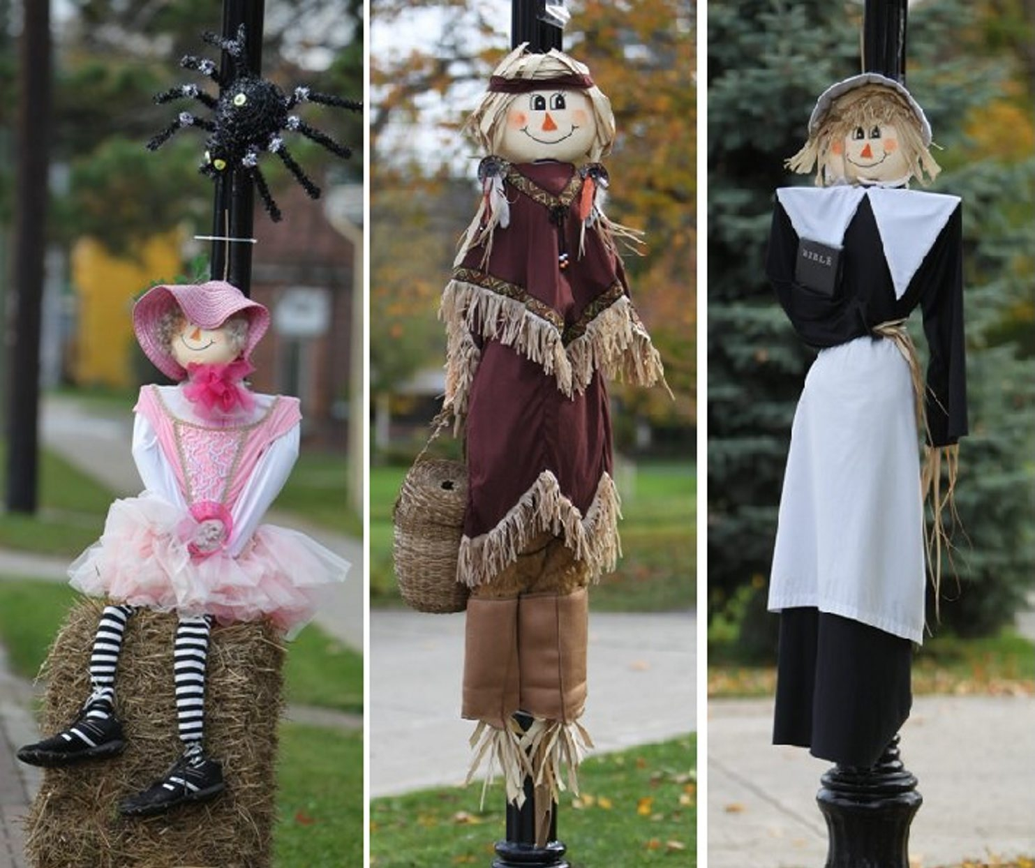 Imaginiative scarecrows, from a Miss Muffett with spider, a Native American princess and a Puritan with Bible, line Main Street in Clarence Center. (Photos by Sharon Cantillon/Buffalo News)