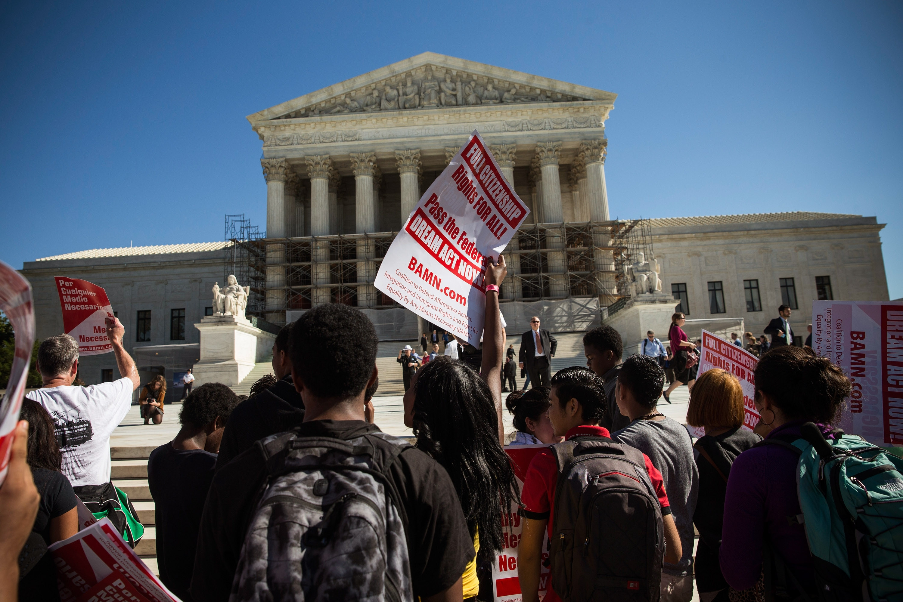 Supporters of affirmative action rallied outside the Supreme Court earlier this week as the justices heard arguments in Schuette v. Coalition to Defend Affirmative Action. (AP photo)