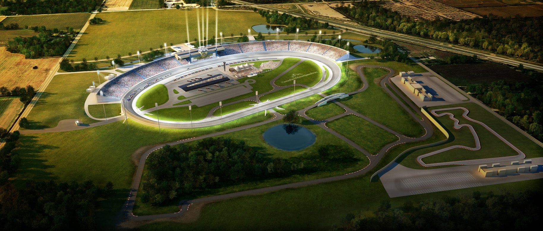 The proposed Canadian Motor Speedway is being built just two minutes from the international border and 20 minutes from Niagara Falls.
