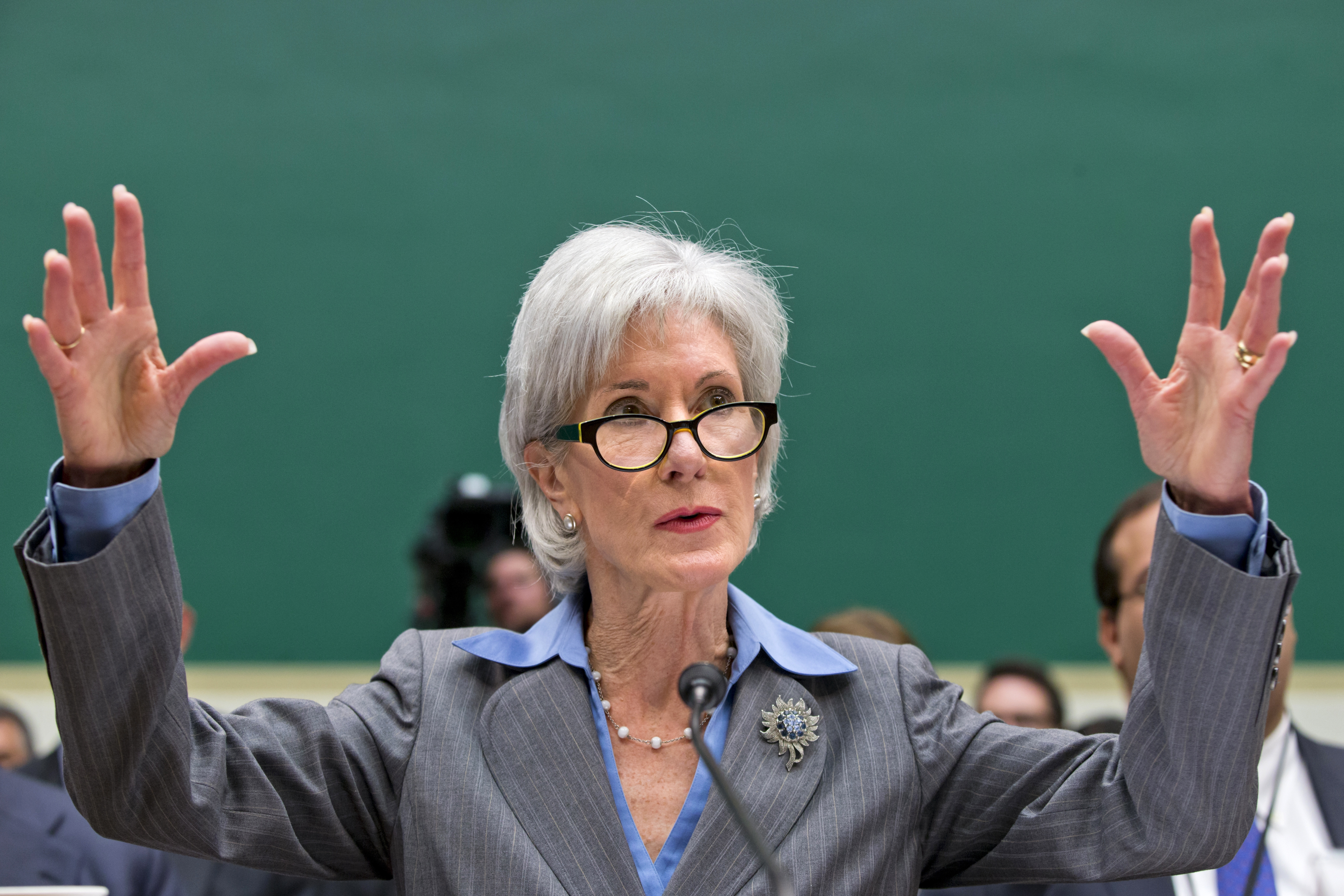 """Speaking of the bungled health care website, Health and Human Services Secretary Kathleen Sebelius told Congress: """"Hold me accountable for the debacle. I'm responsible."""""""