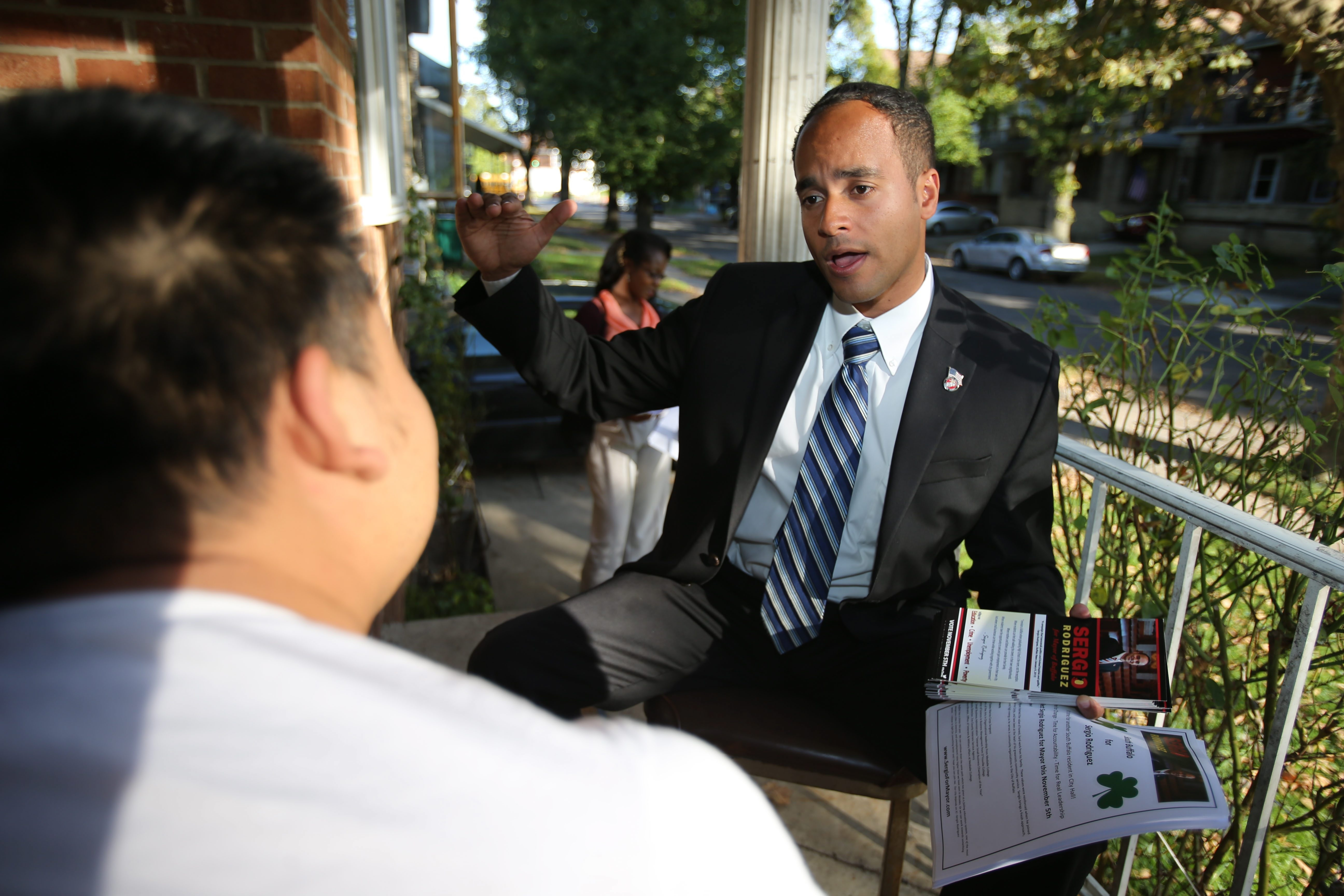 Republican mayoral candidate Sergio R. Rodriguez has taken his campaign to the city's streets, going door-to-door to spread the word about his platform, which includes a push for mayoral control of schools and increasing police foot patrols.