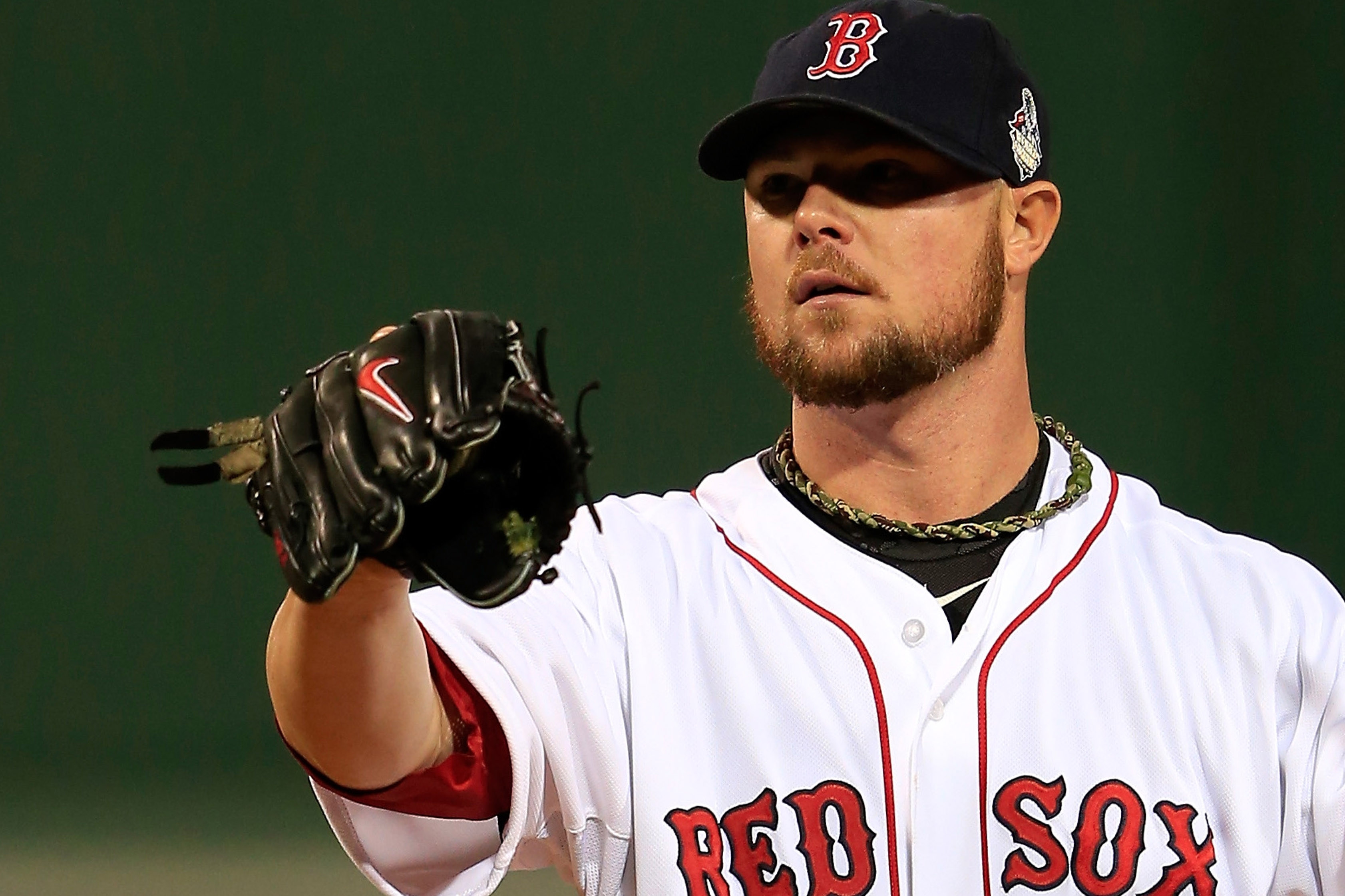 Red Sox pitcher Jon Lester says rosin is the only substance he had on his glove in Game One on Wednesday.