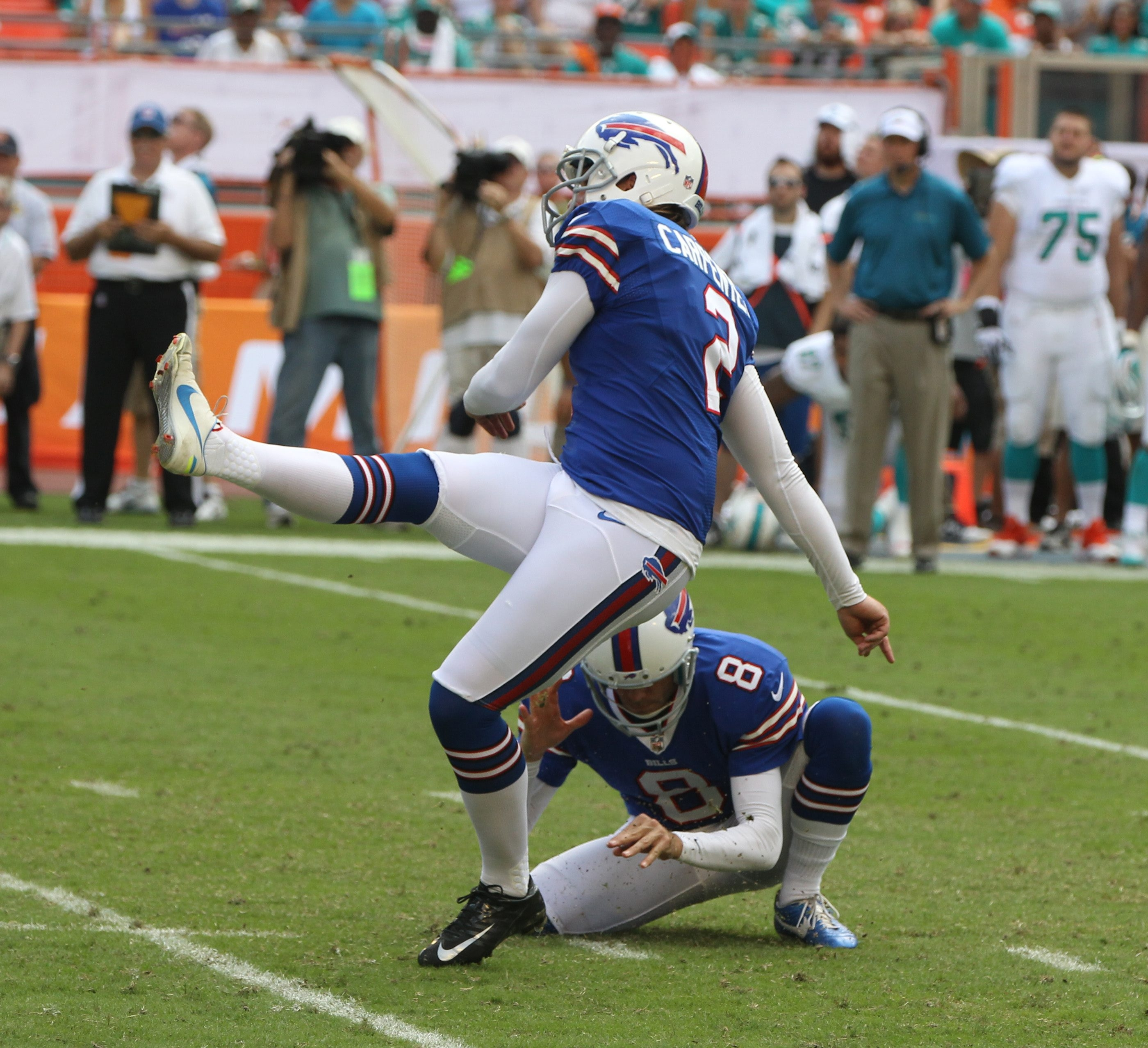 Buffalo Bills kicker Dan Carpenter kicks the game winning field goal in the fourth quarter at Sun Life Stadium.