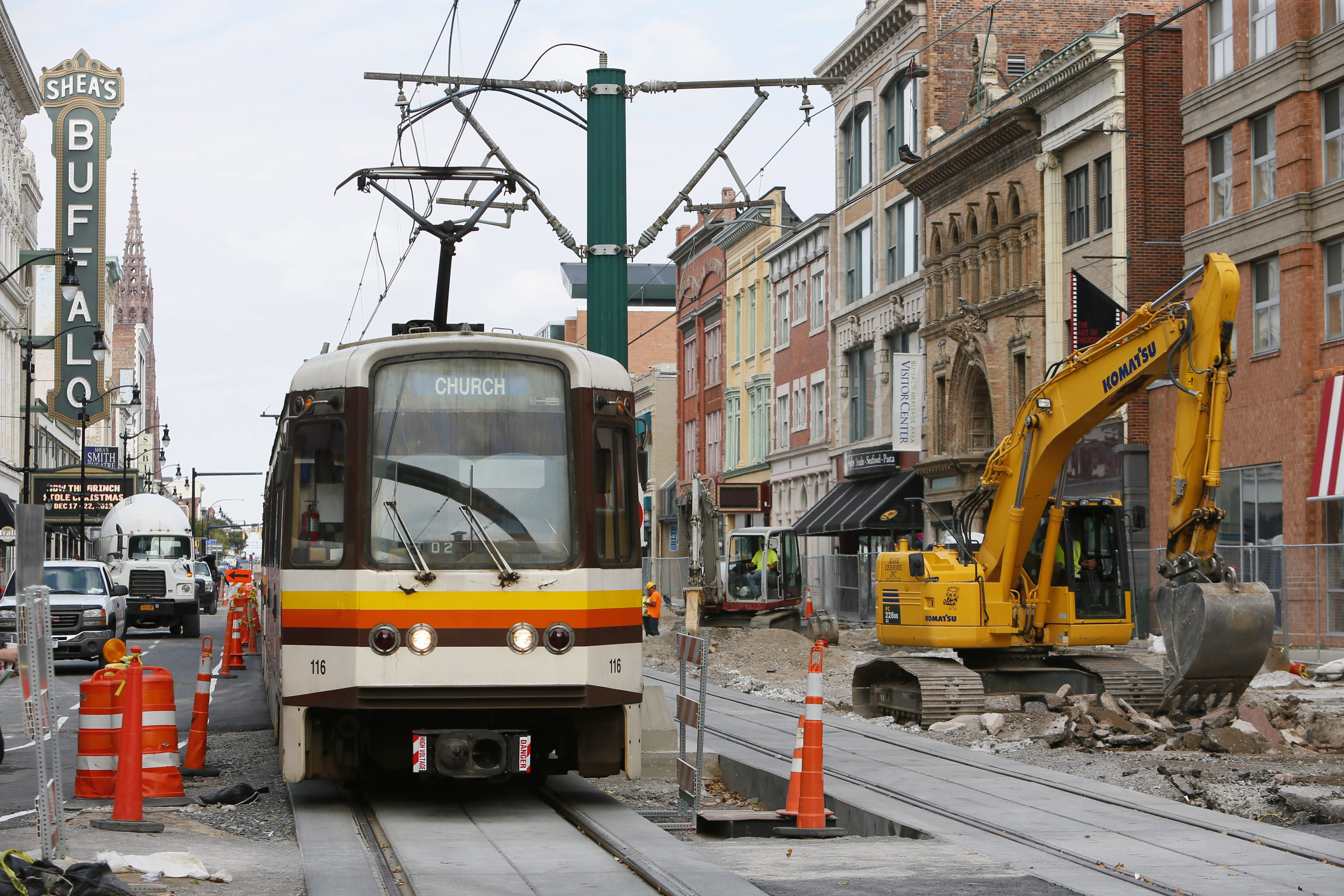 NFTA Metro Rail traffic is reduced to one track on the 600 block of Main Street as construction continues on the project to return cars to Main Street.