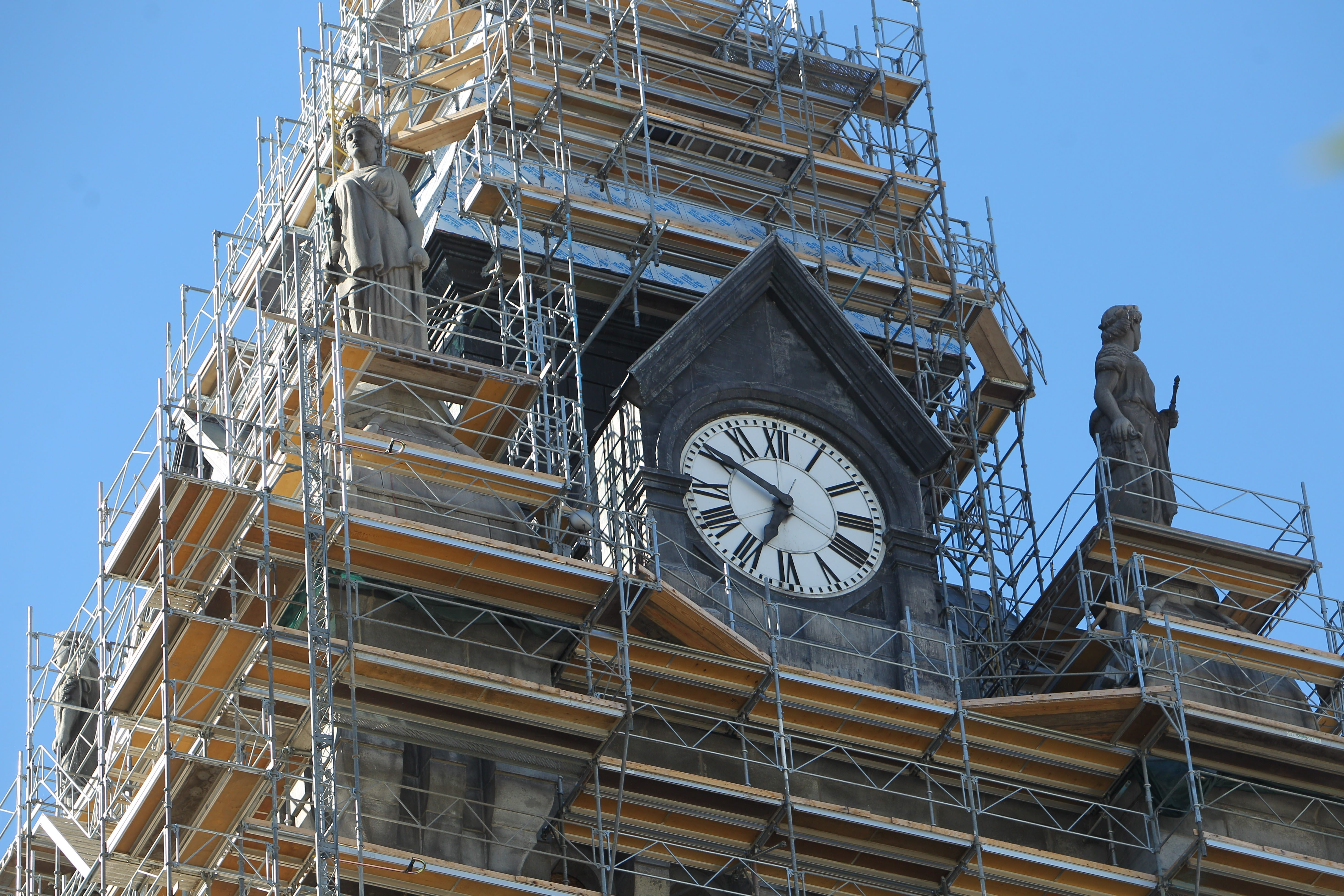 The tower at  the Erie County Courthouse on Franklin St. is being restored, the first time since it was built in 1876,  The work began in June and will finish sometime in 2014.  Photo taken, Tuesday, Sept. 17, 2013.  (Sharon Cantillon/Buffalo News)