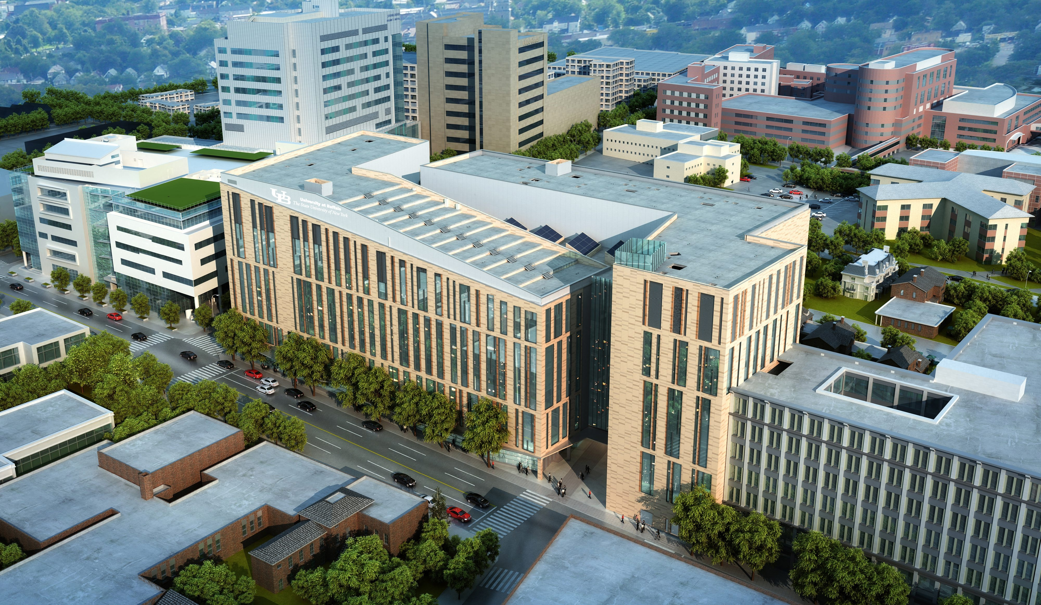 An artist rending shows an aerial view of the new UB Medical School to be built on the Buffalo Niagara Medical Campus.